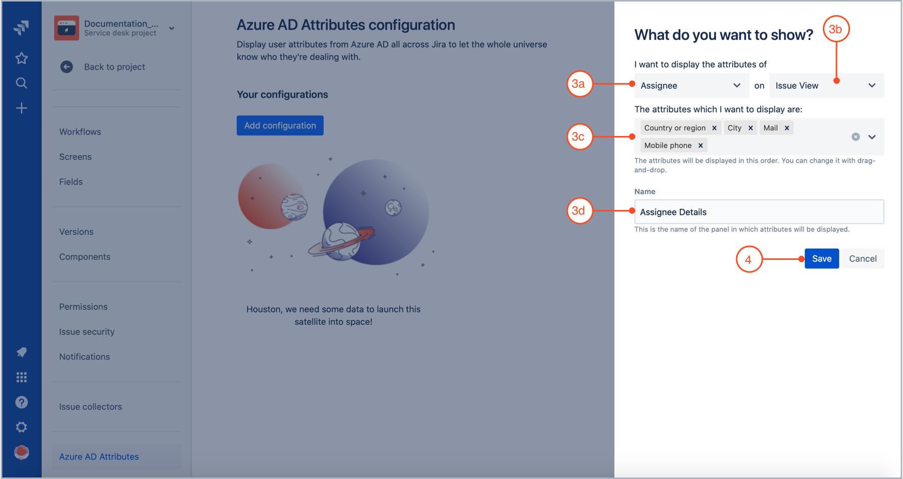 Defining a configuration of Azure AD attributes to be displayed in Jira