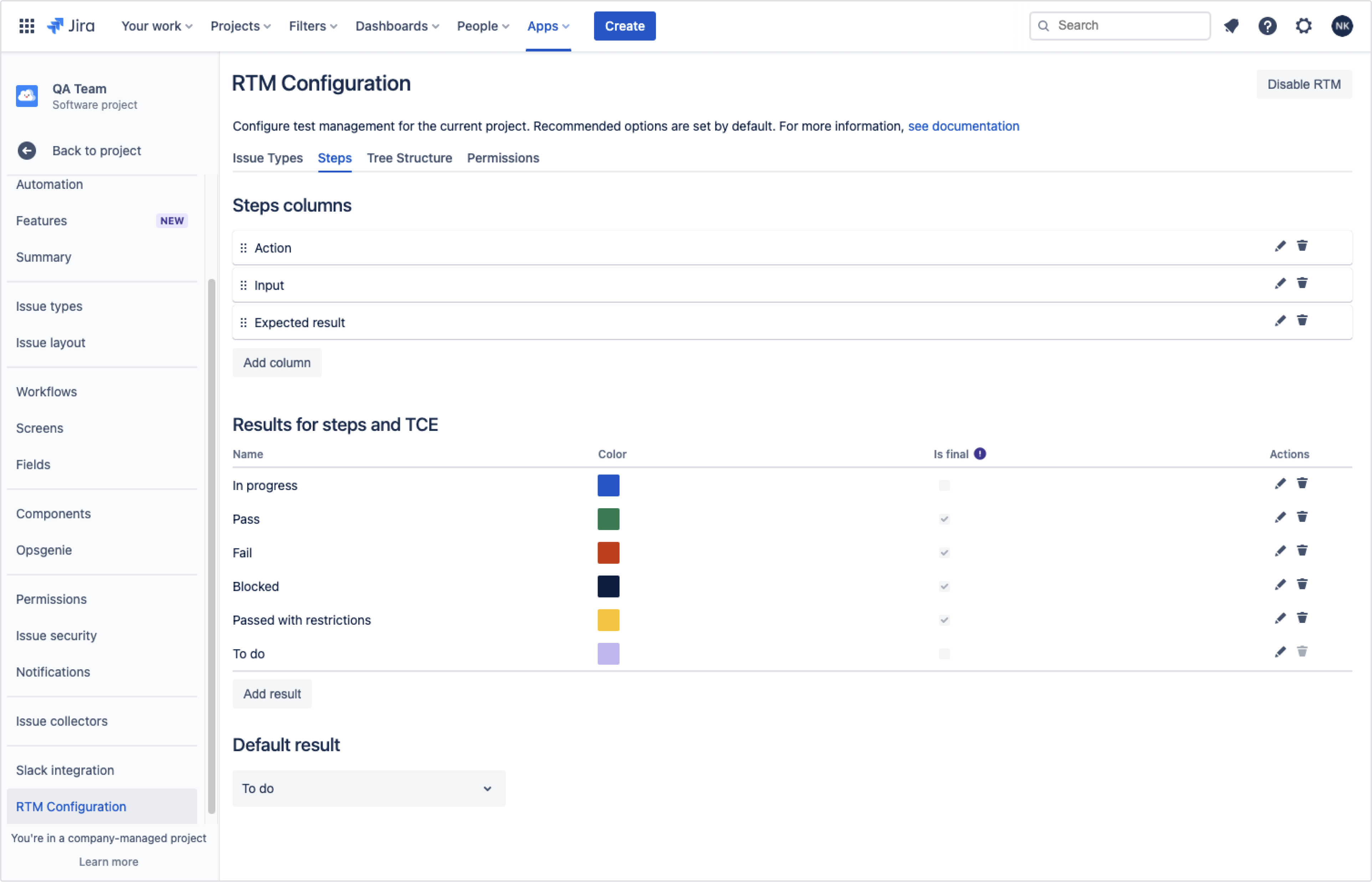Add more step columns with Requirements and Test Management for Jira app