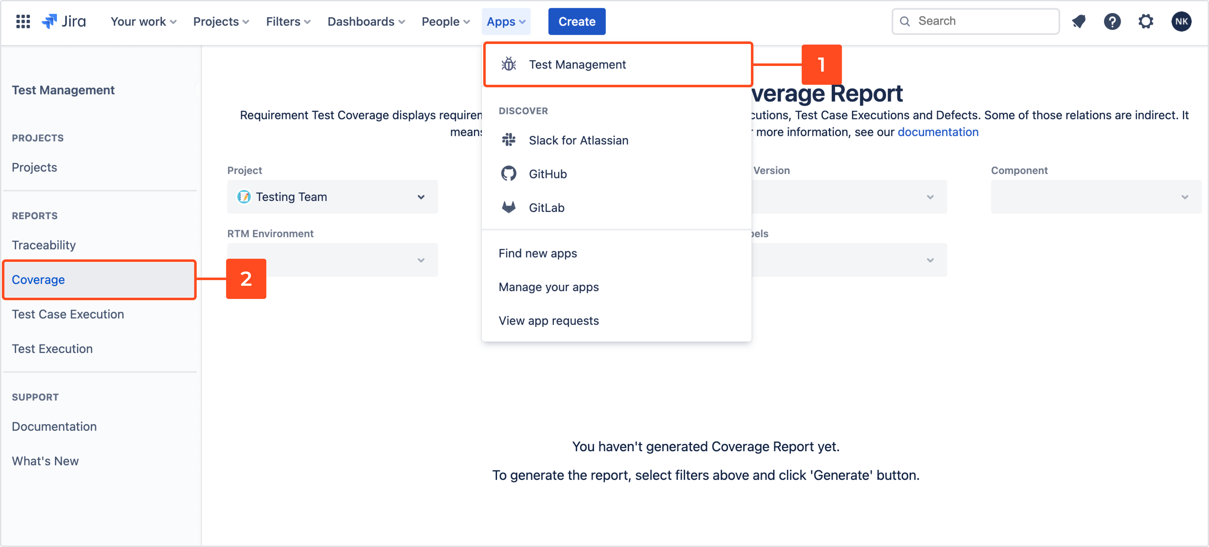 Coverage report with Requirements and Test Management for Jira app