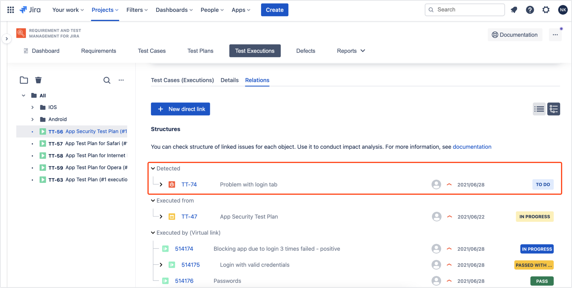 Defects are visible in Relations tab in each related element with Requirements and Test Management for Jira app