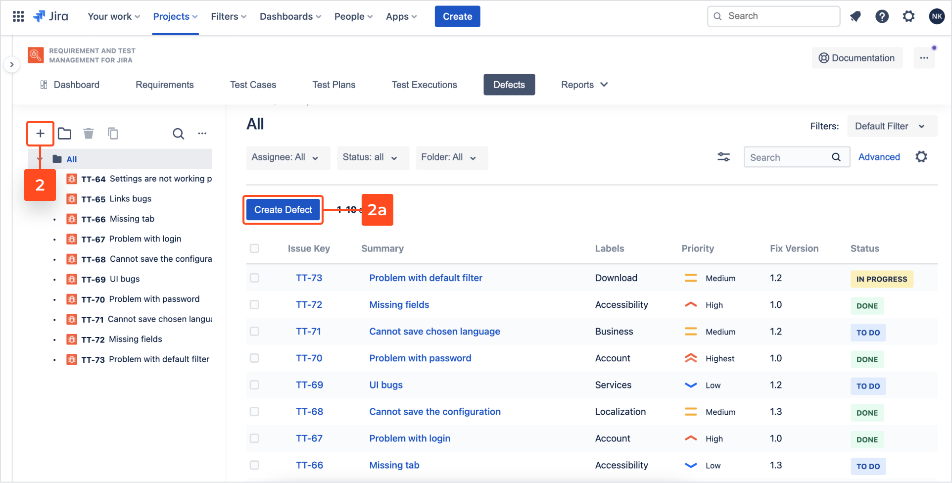 Create Defects with Requirements and Test Management for Jira app