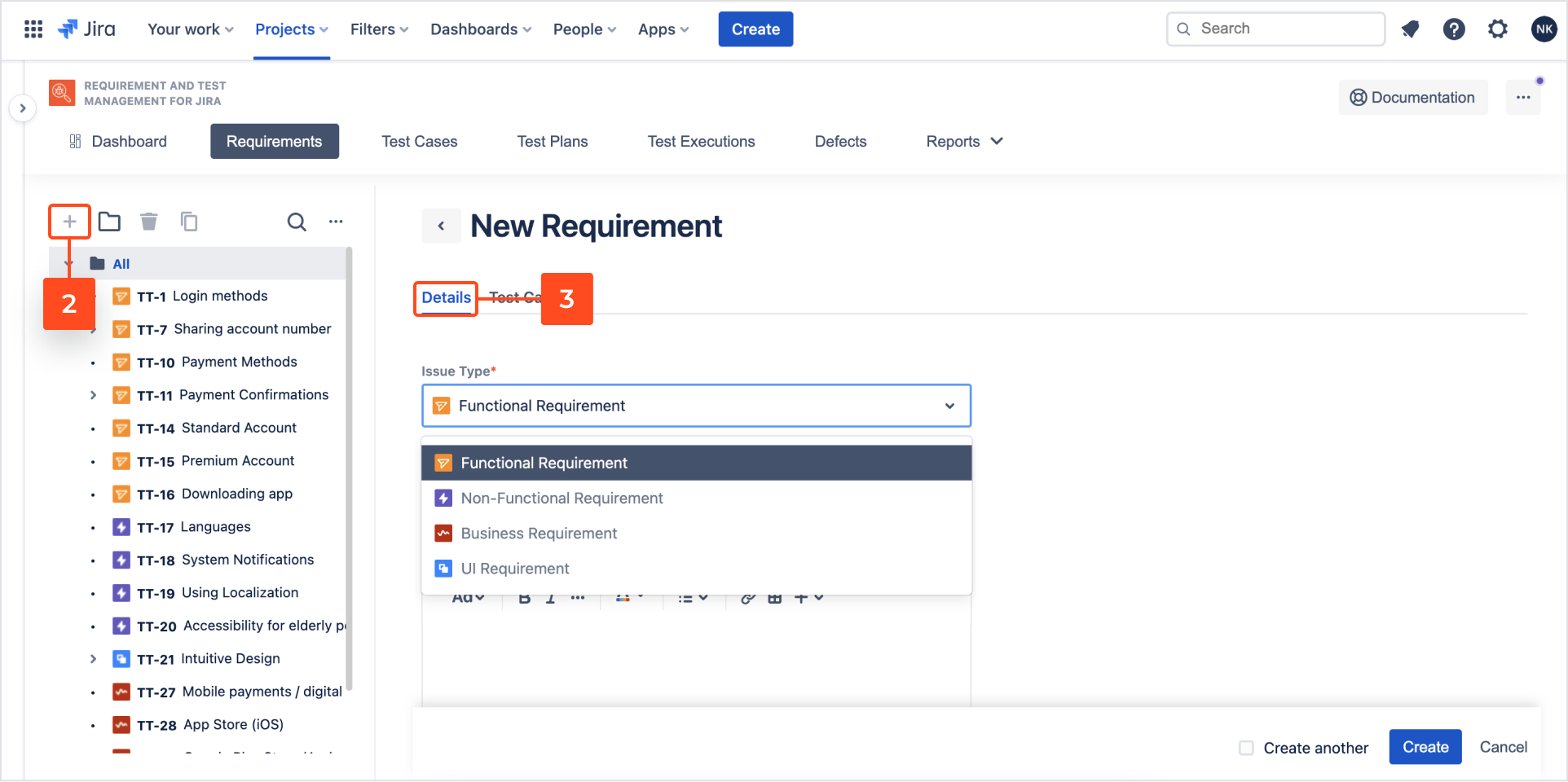 Create a new requirement with Requirements and Test Management for Jira app