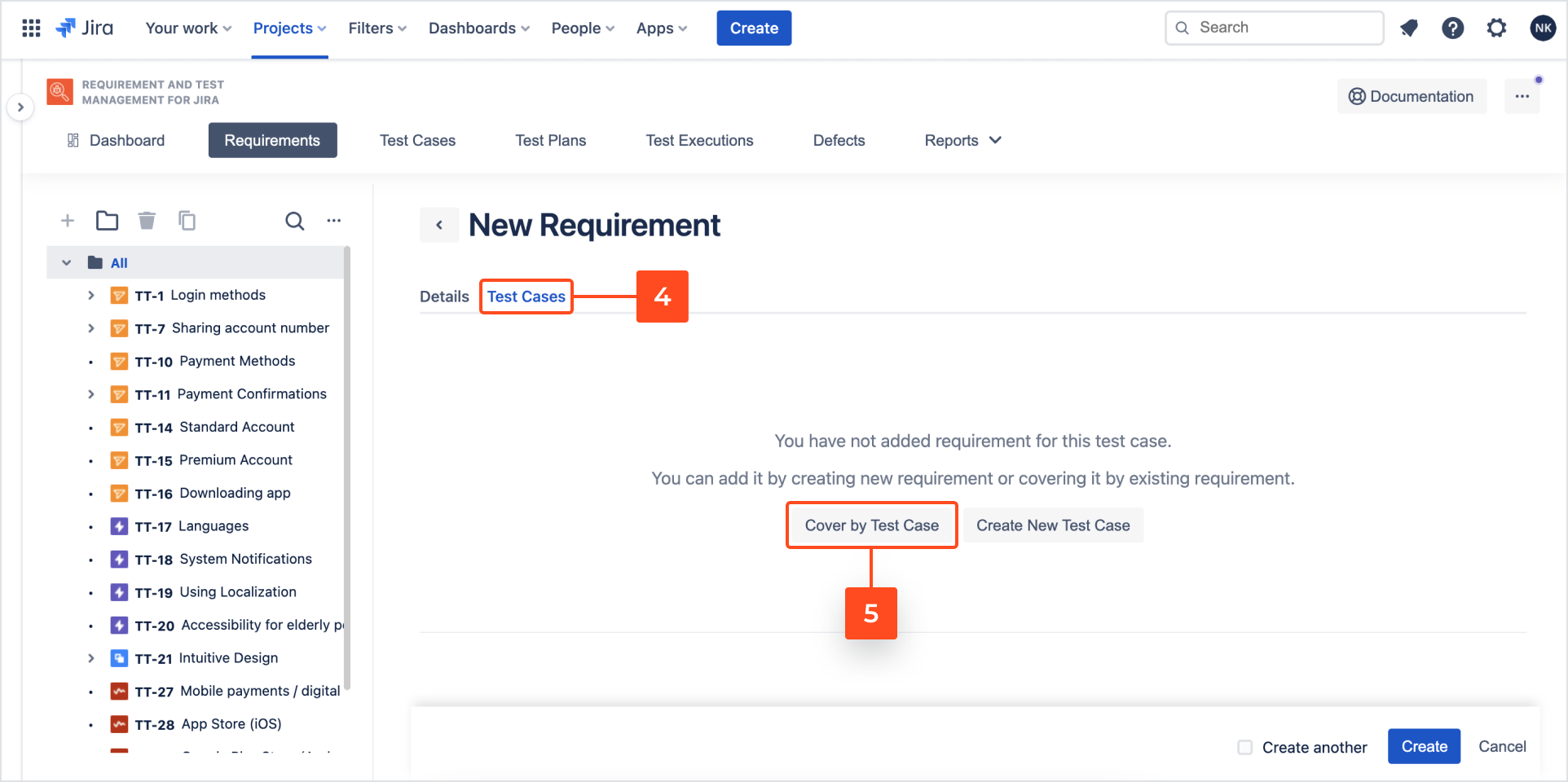 Add Test Case with Requirements and Test Management for Jira app