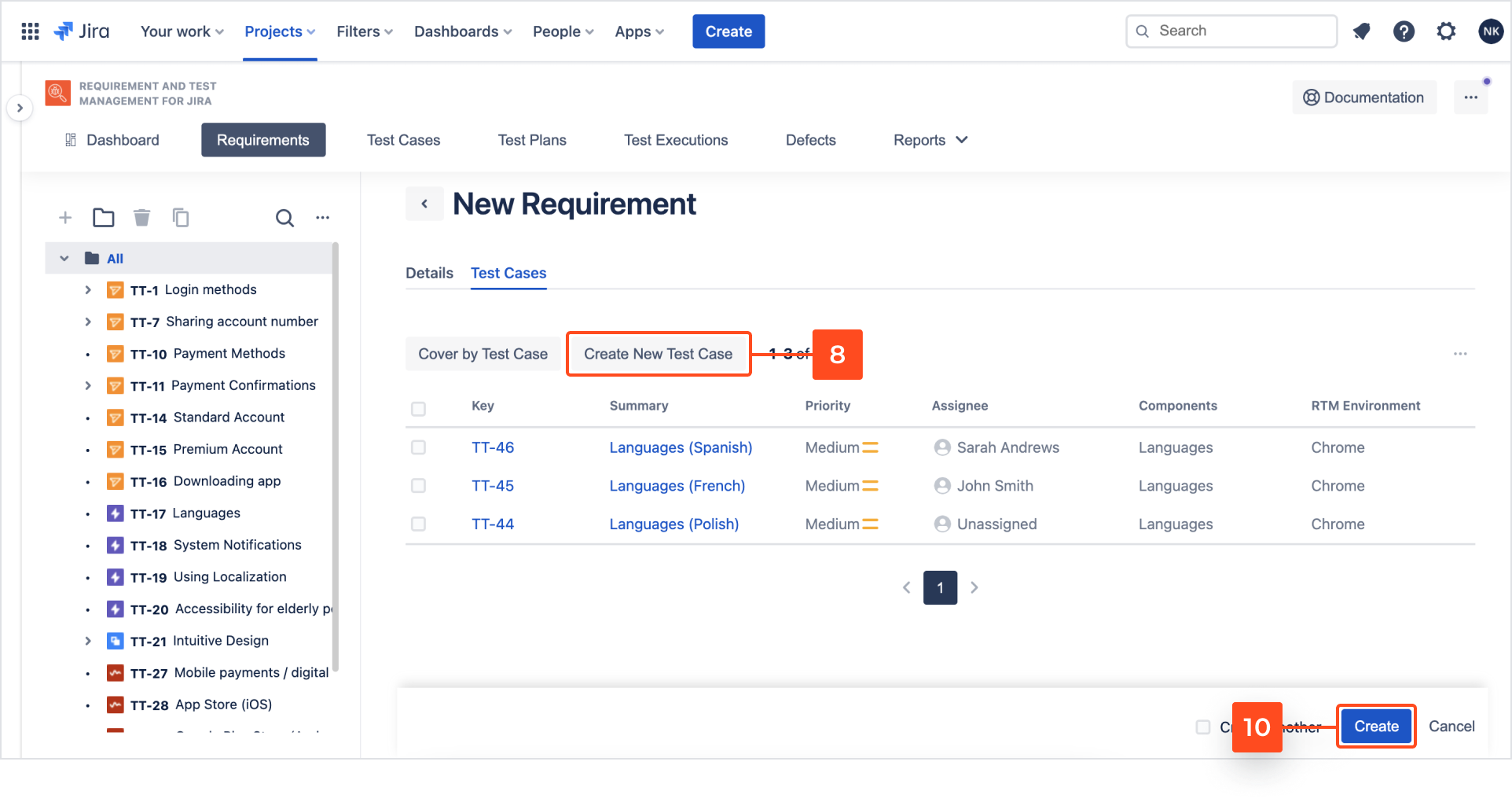Create new Test Case with Requirements and Test Management for Jira app