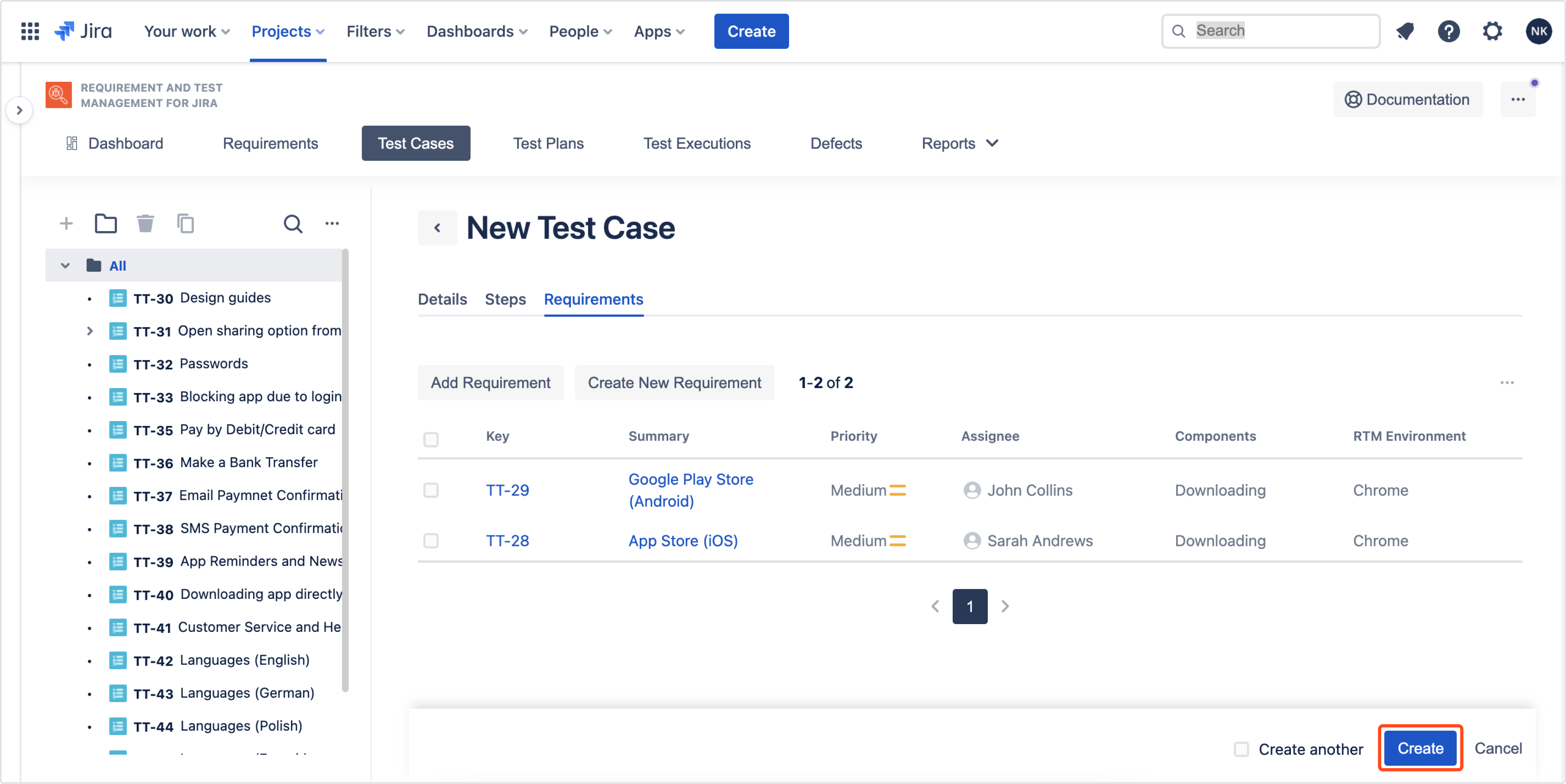 Create Test Cases with Requirements and Test Management for Jira app