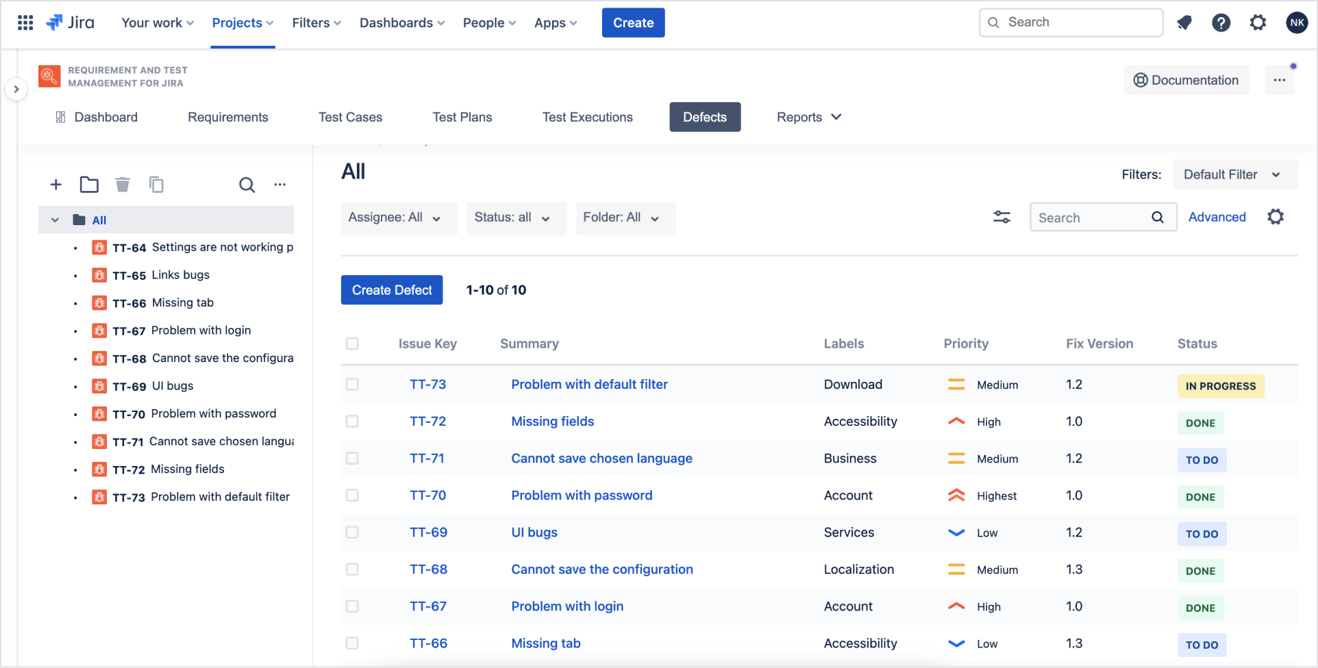 Defects with Requirements and Test Management for Jira app