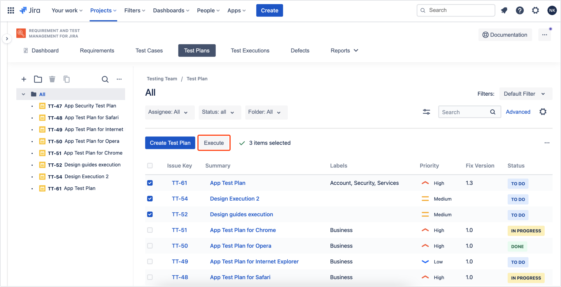 Execute Test Plan with Requirements and Test Management for Jira app