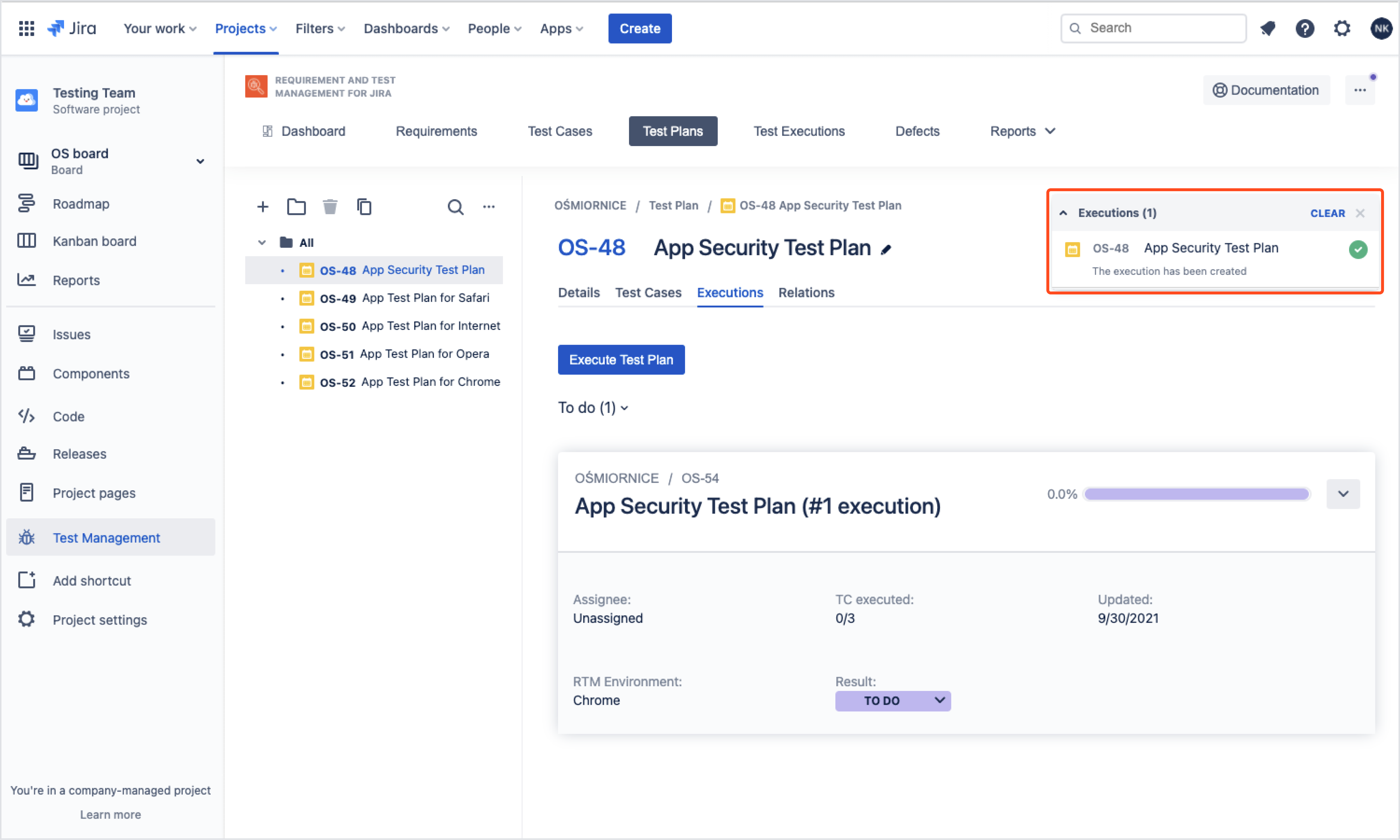 Start executing Test Cases with Requirements and Test Management for Jira app