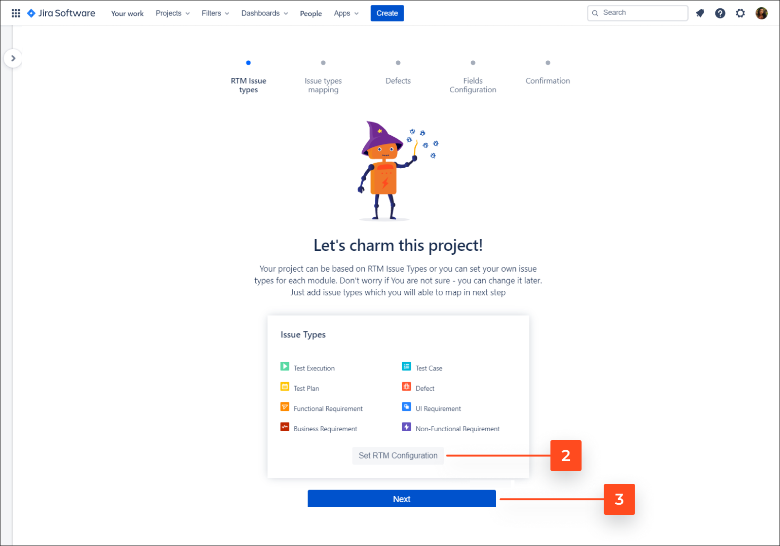 Choose project you want to use with Requirements and Test Management for Jira