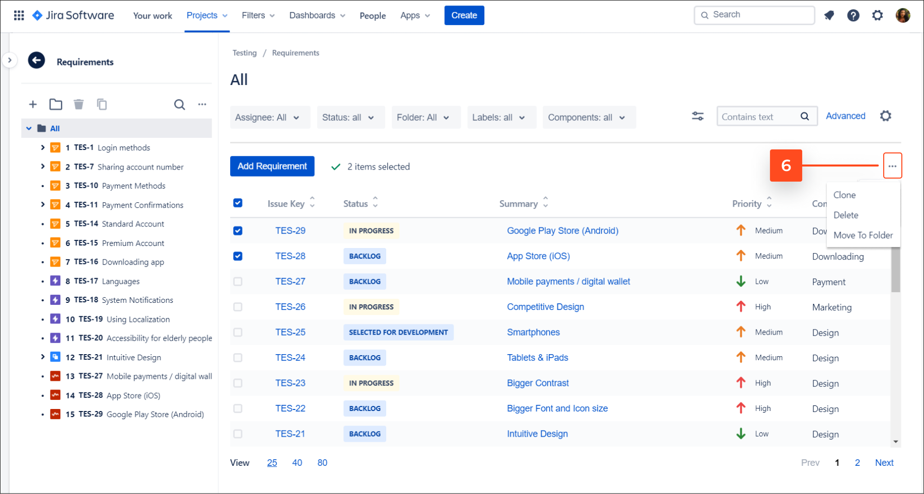 Explore navigation tools in Requirements and Test Management for Jira app