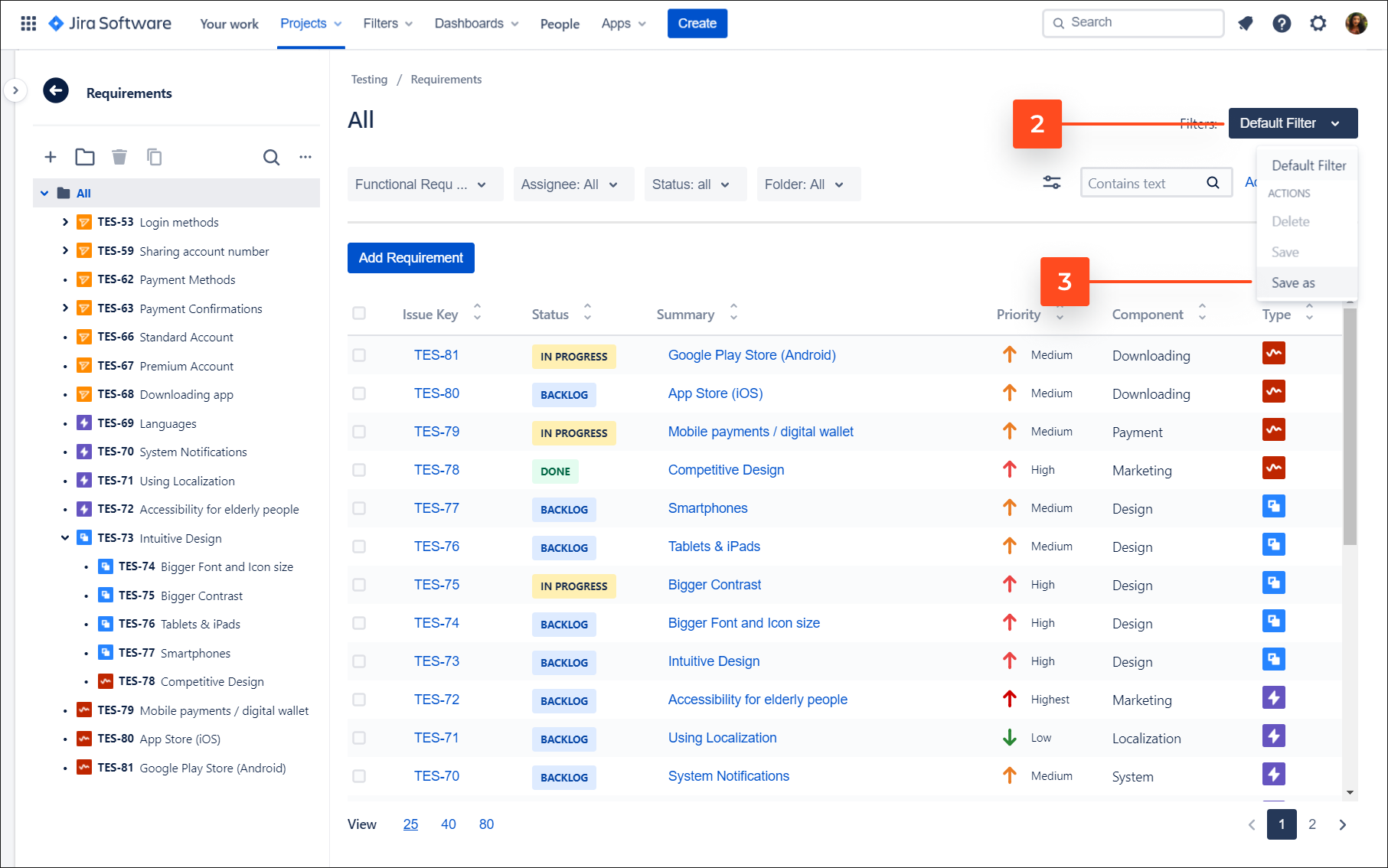 Save new filter with Requirements and Test Management for Jira app