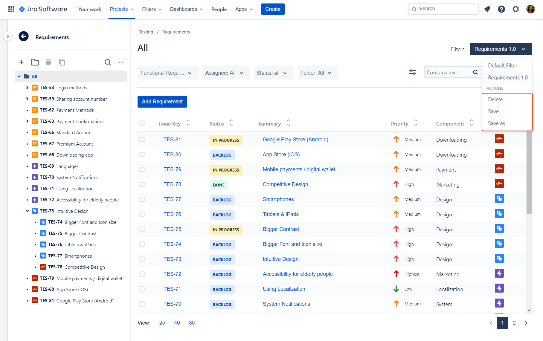 You can edit created filter with Requirements and Test Management for Jira app