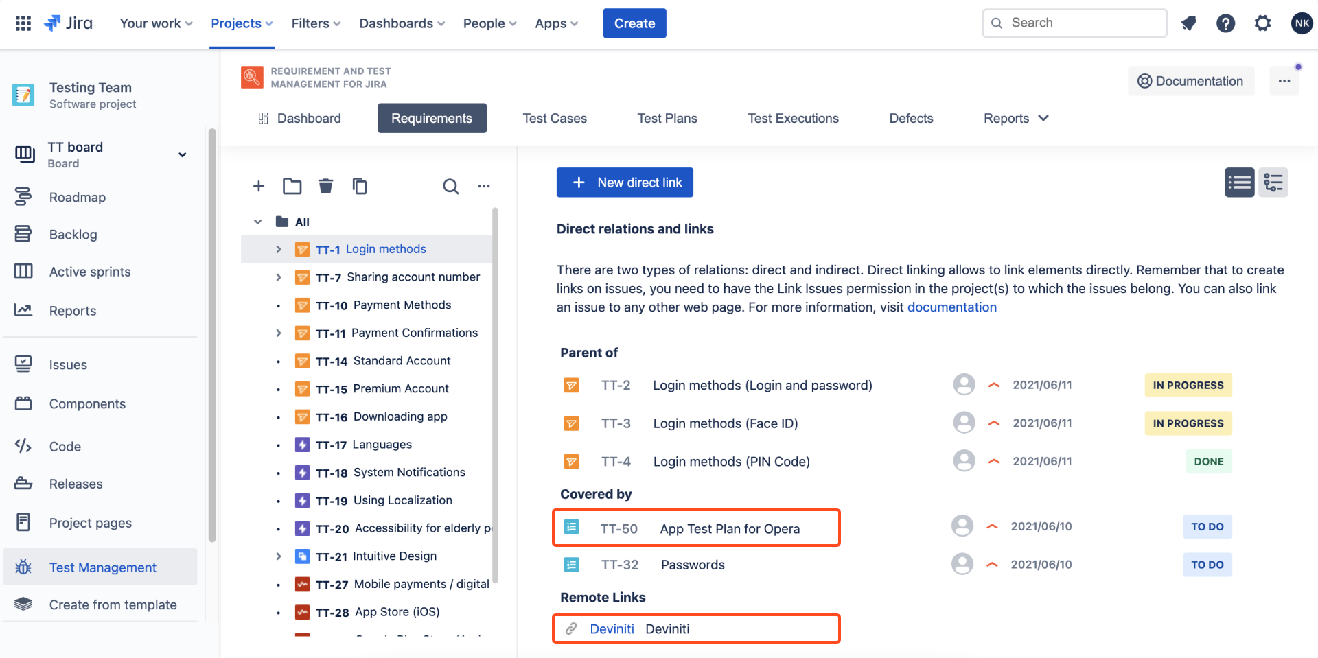 Result of creating link with Requirements and Test Management for Jira app