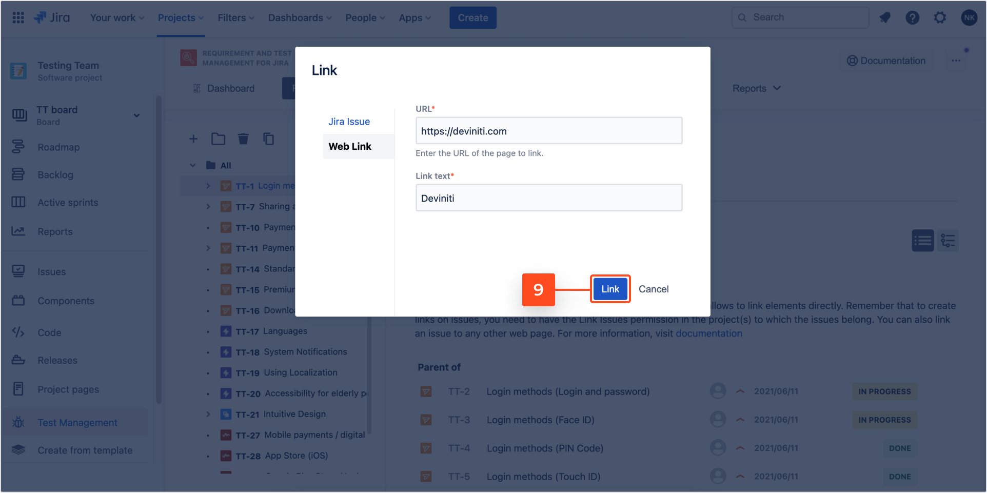 Create link with Requirements and Test Management for Jira app