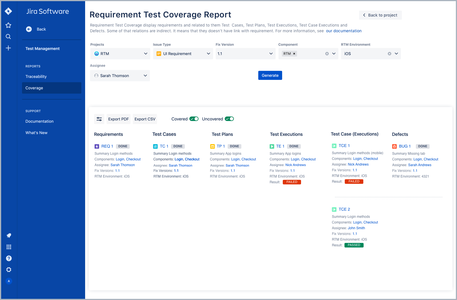 Coverage report in Requirements and Test Management for Jira
