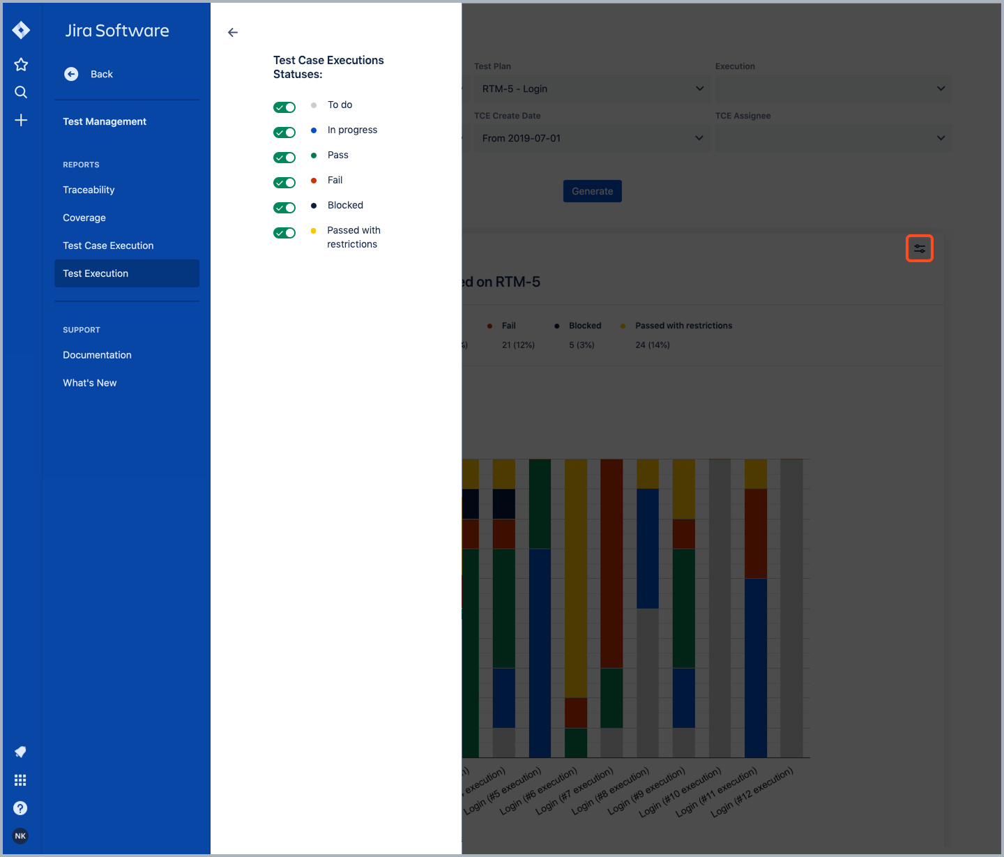 Test Execution report in Requirements and Test Management for Jira