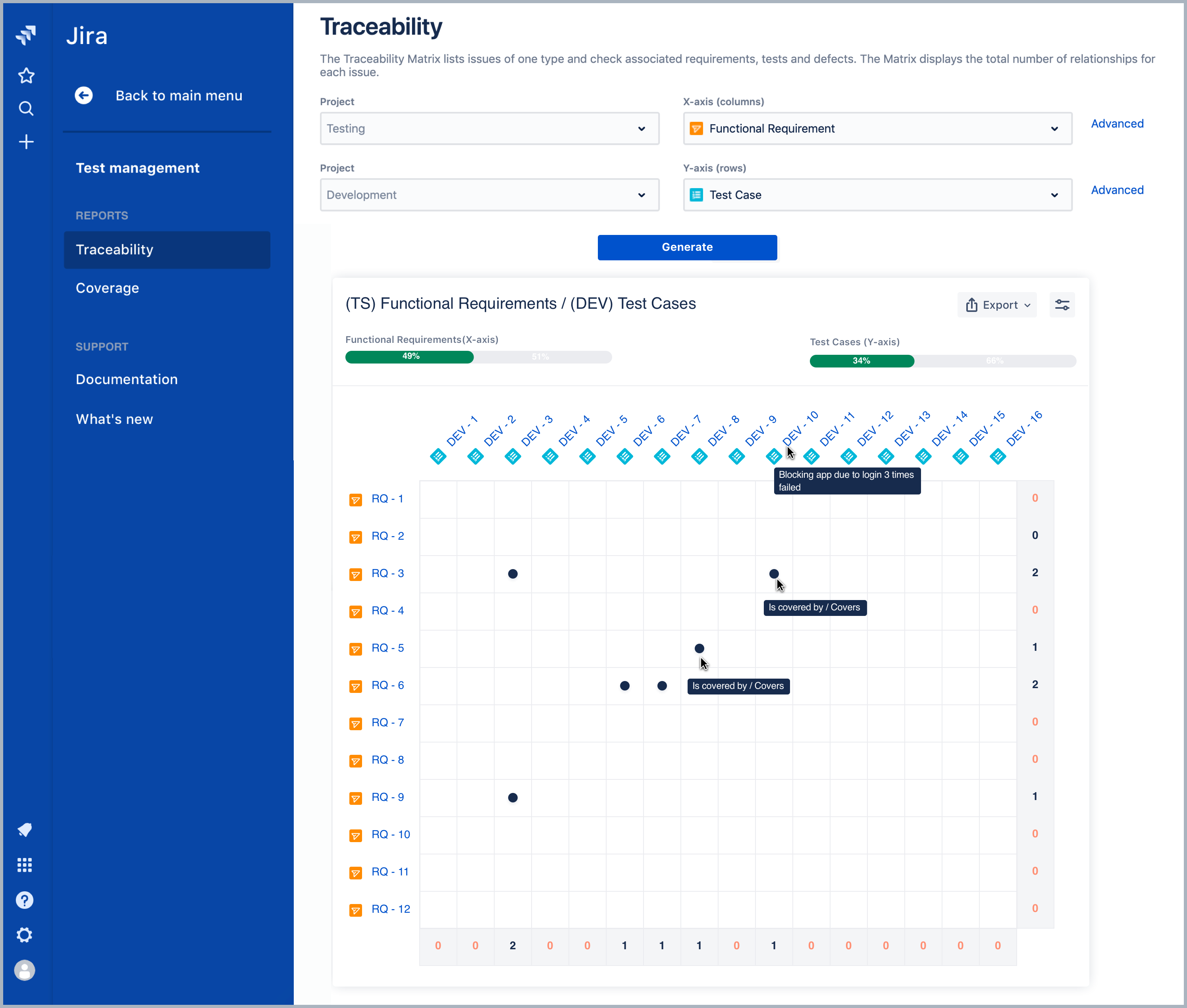 Traceability matrix in Requirements and Test Management for Jira