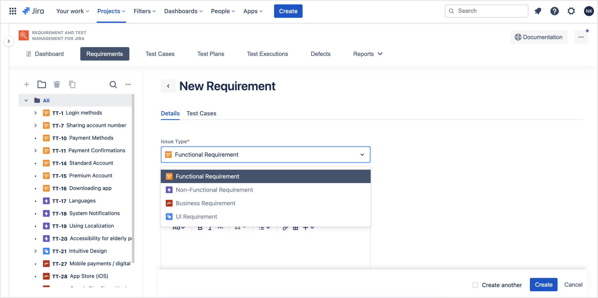 Add and configured requirement with Requirements and Test Management for Jira app