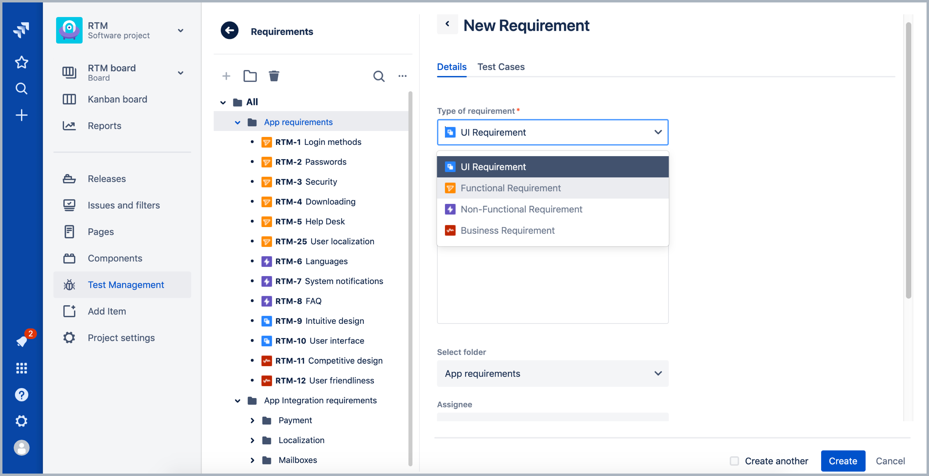 Requirements in RTM for Jira