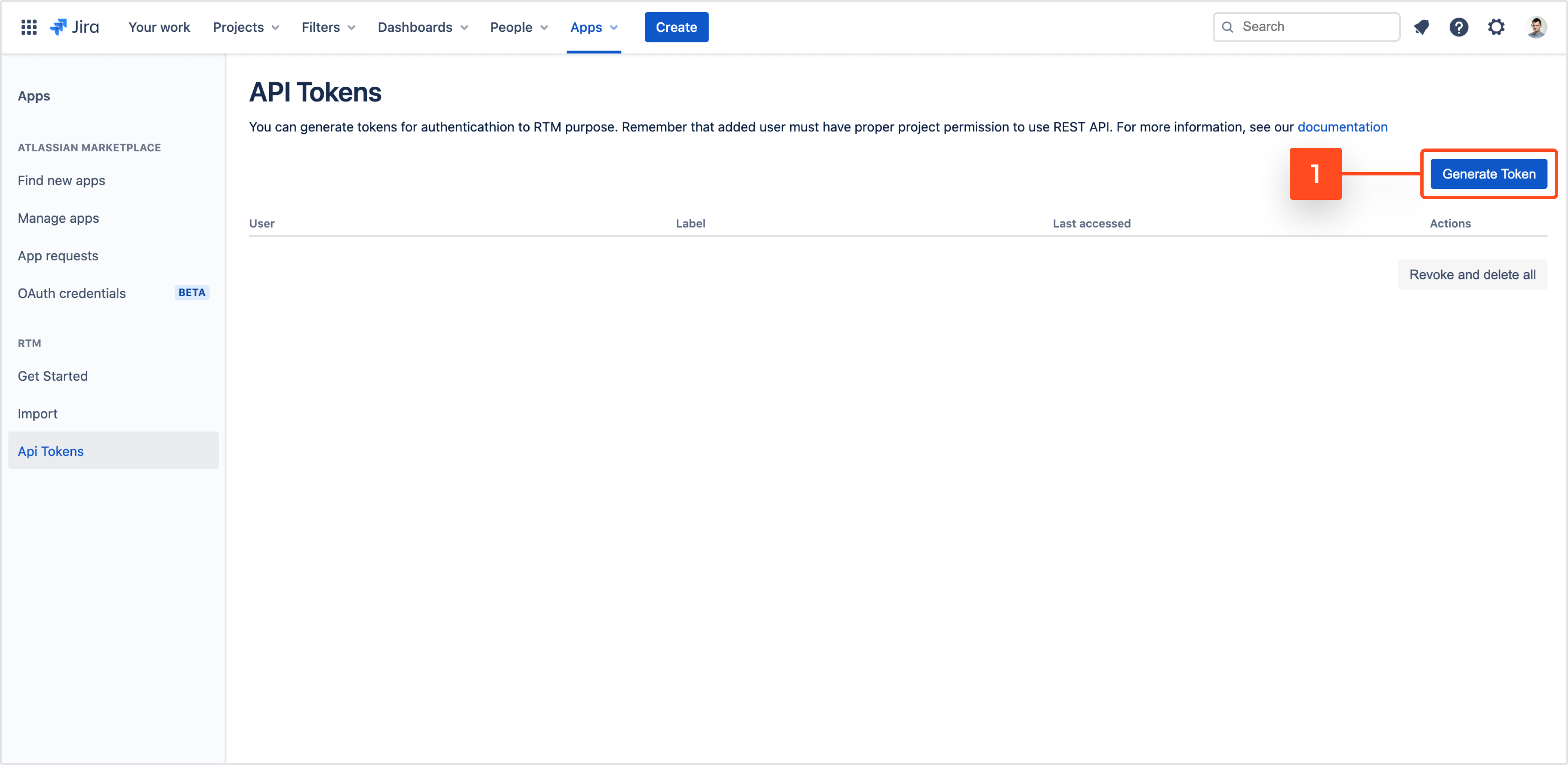 Generate token to use REST API from Requirements and Test Management for Jira app