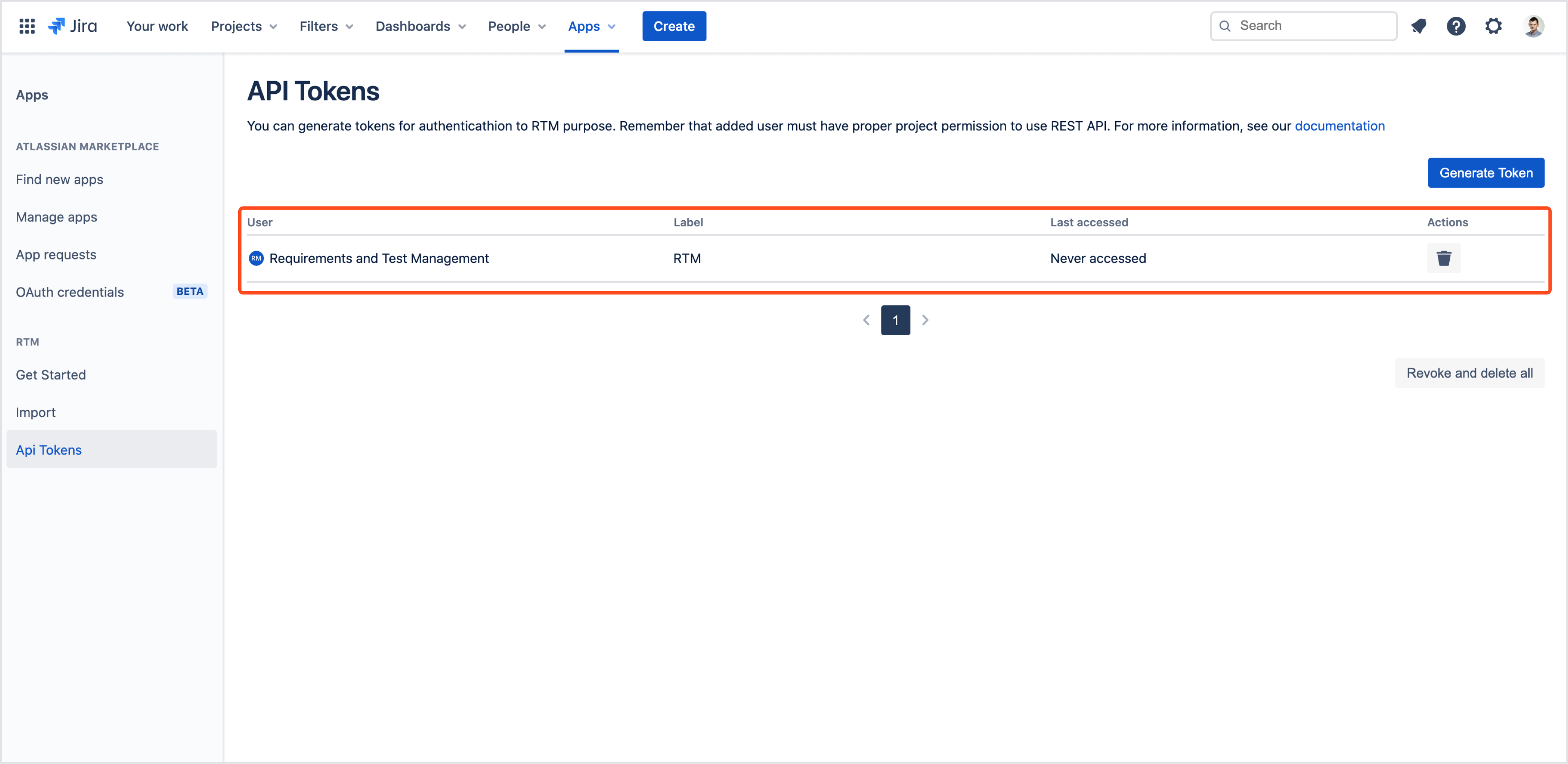 List of generated tokens to use REST API from Requirements and Test Management for Jira app