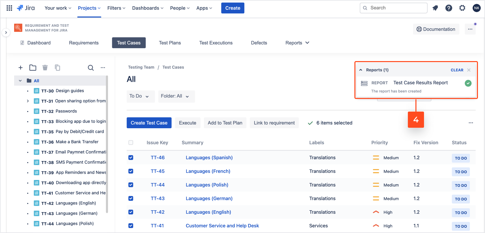 Explore test cases with Requirements and Test Management for Jira app