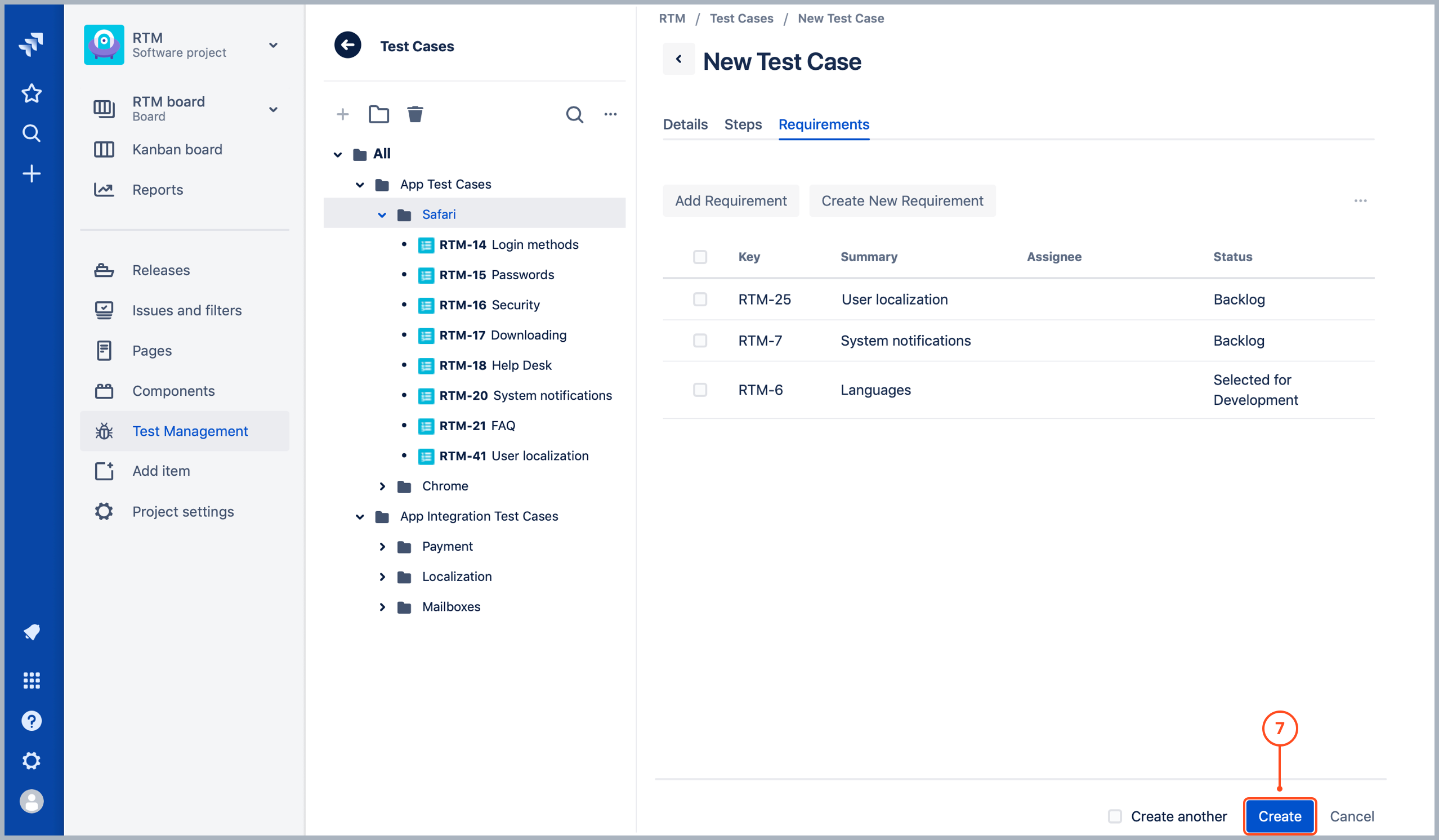 Creating Test Cases in Requirements and Test Management for Jira