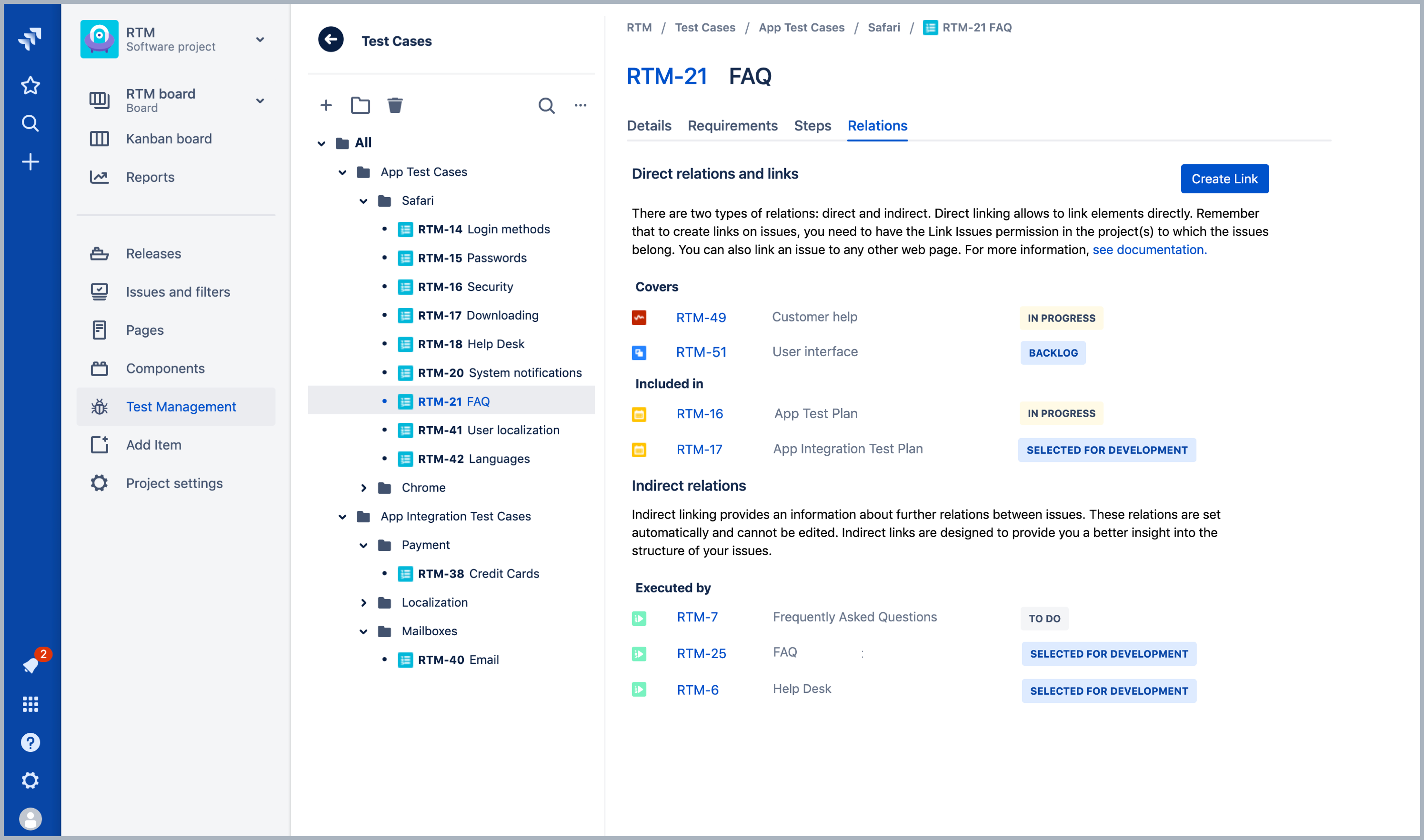 Test Cases in Requirements and Test Management for Jira