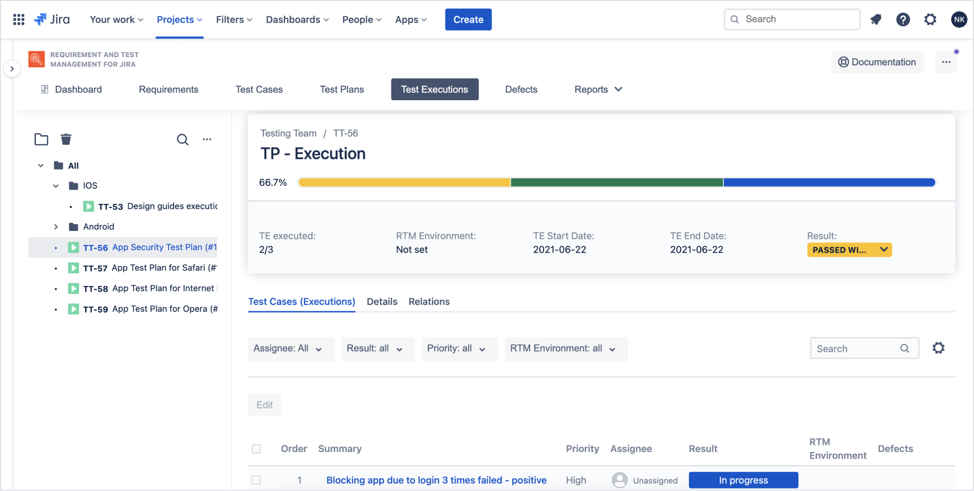 Test Execution with Requirements and Test Management for Jira app