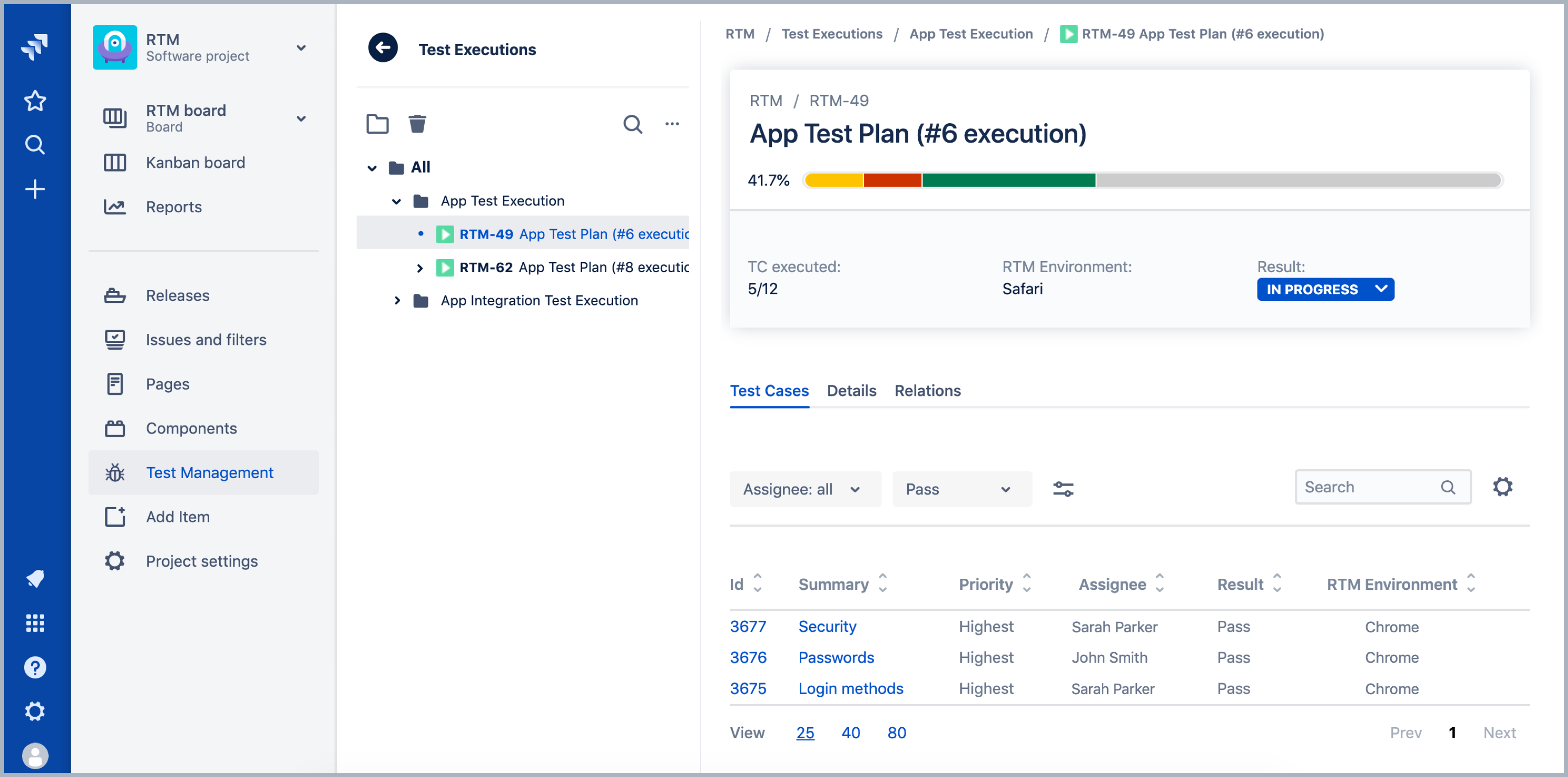 Test Execution in Requirements and Test Management for Jira