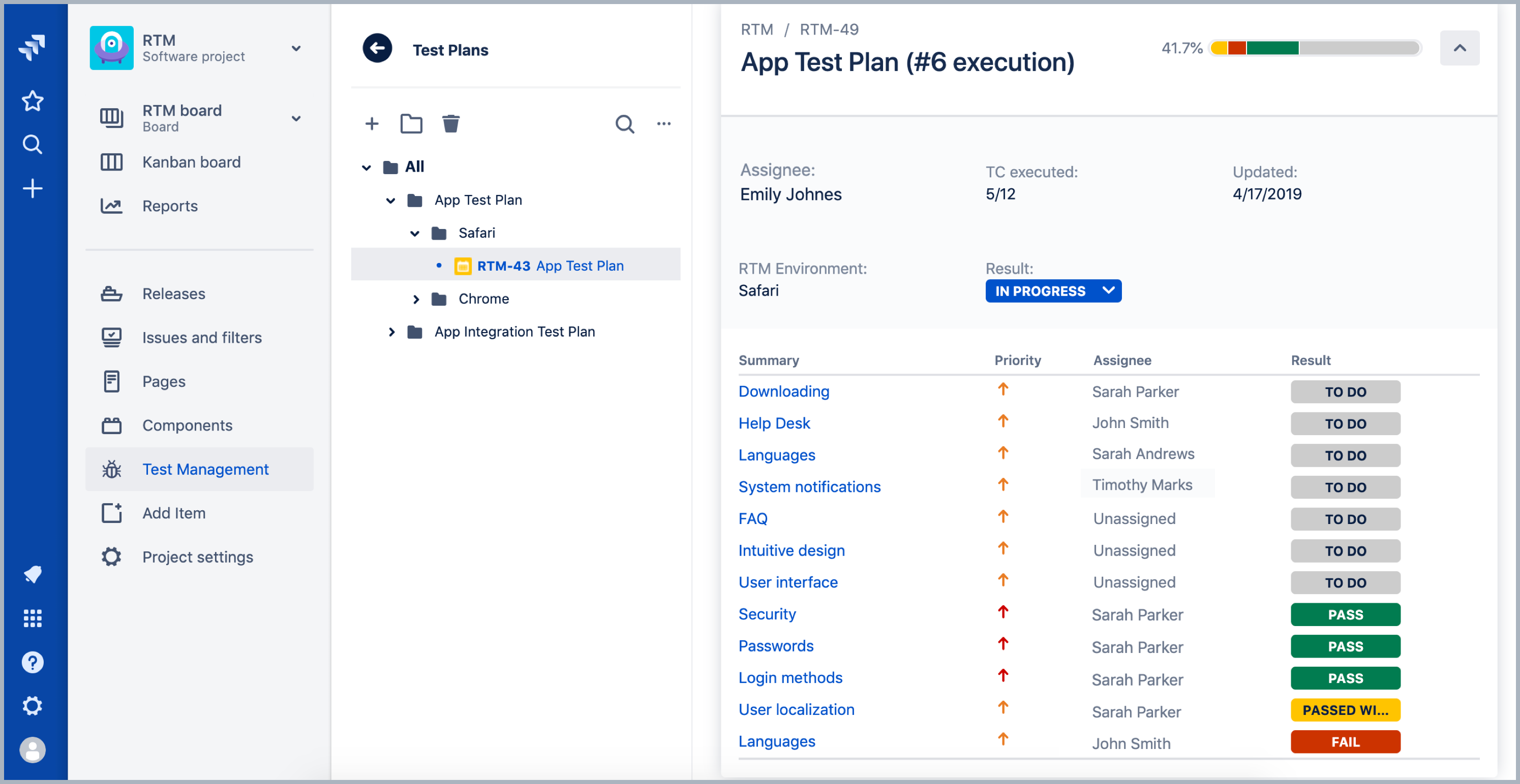 Test Plan in Requirements and Test Management for Jira