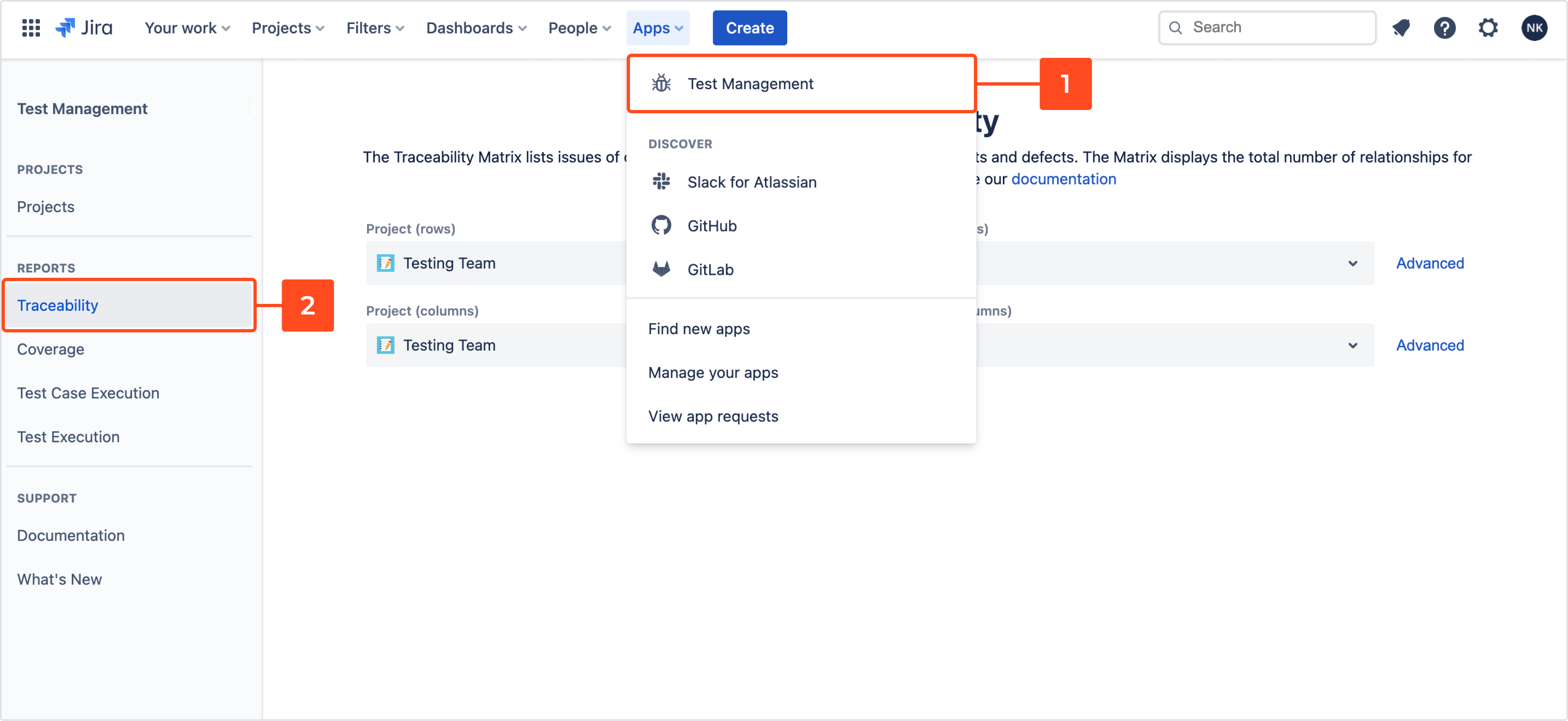 Go to traceability matrix with Requirements and Test Management for Jira app