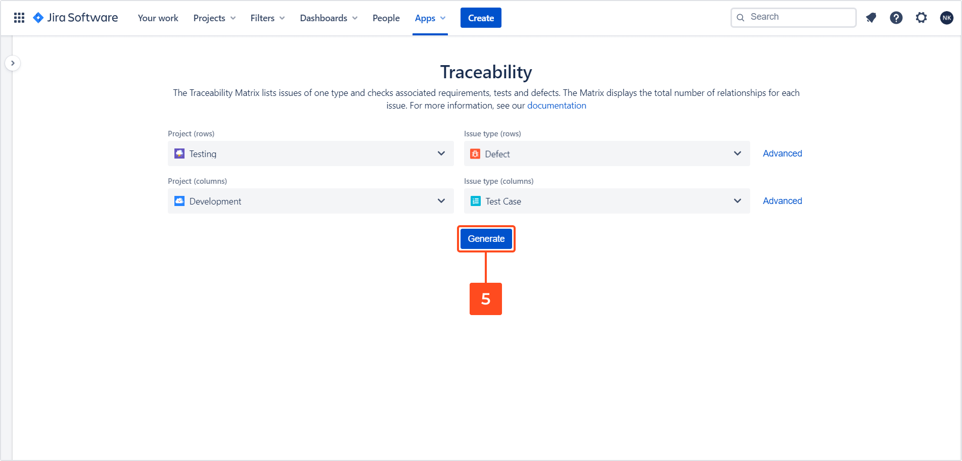 Set traceability matrix configuration with Requirements and Test Management for Jira app