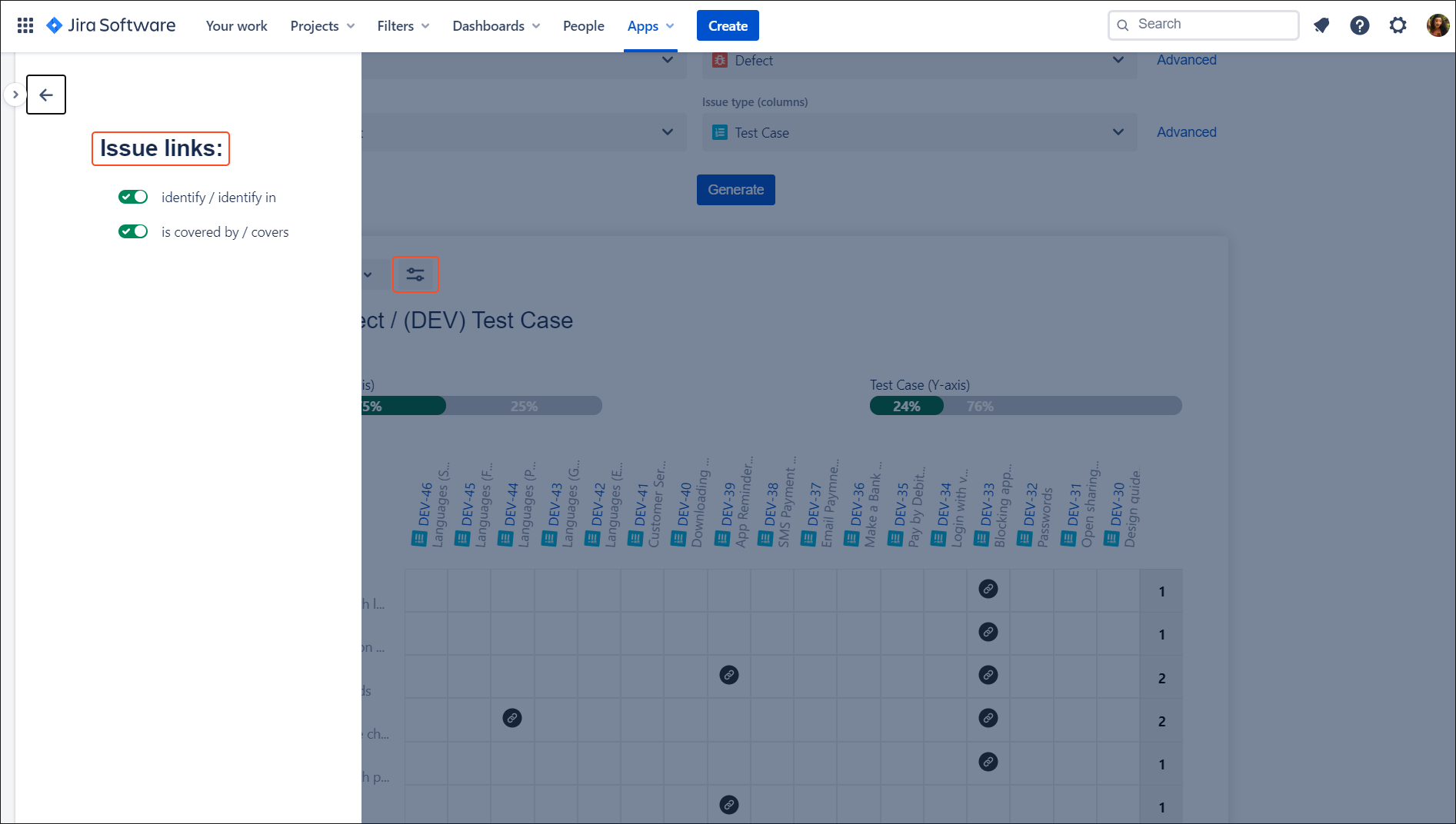 Traceability matrix with Requirements and Test Management for Jira app