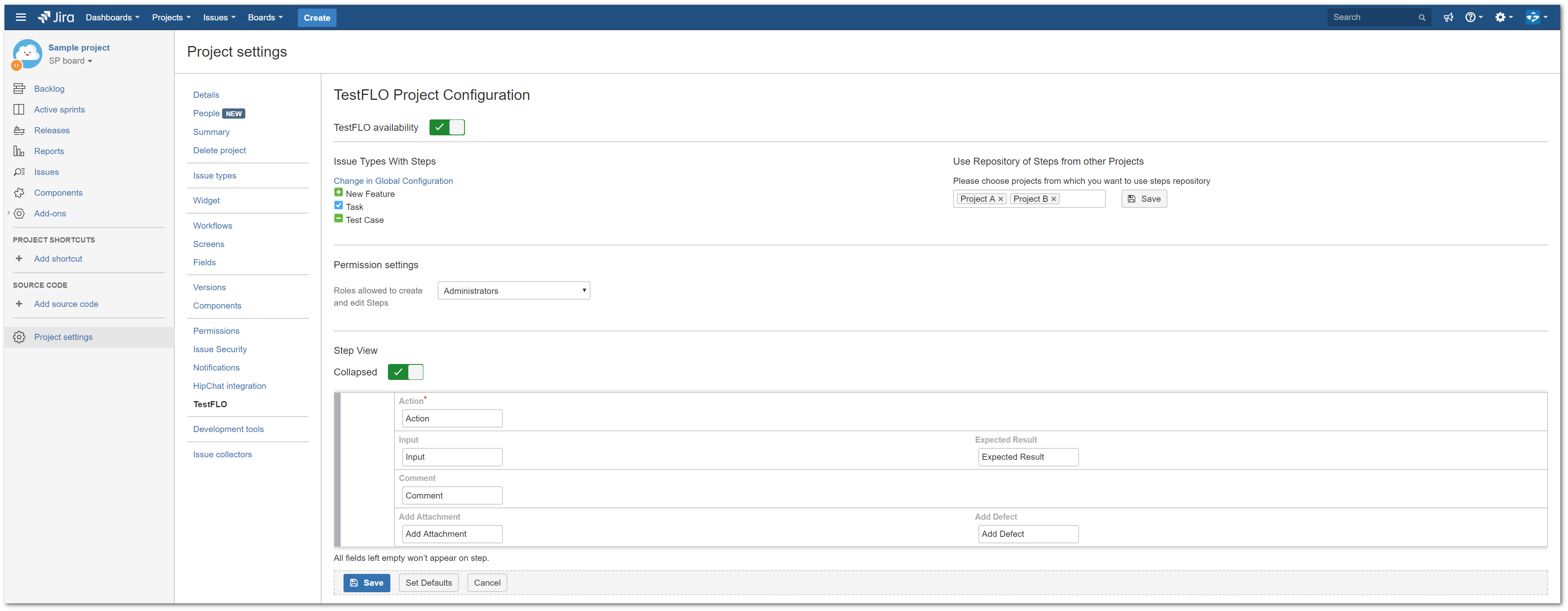 TestFLO Cloud: View of project configuration