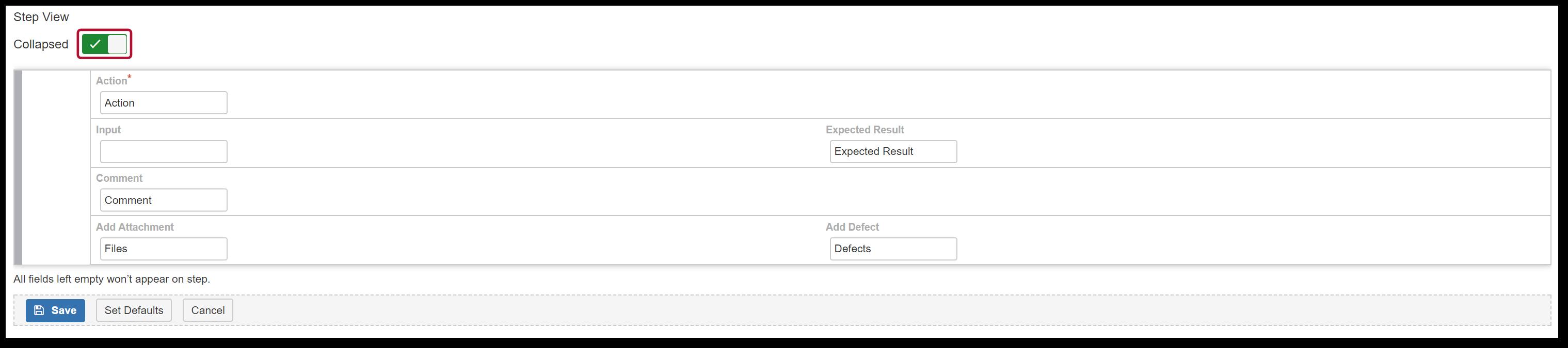 TestFLO Cloud: Configuration of Steps view