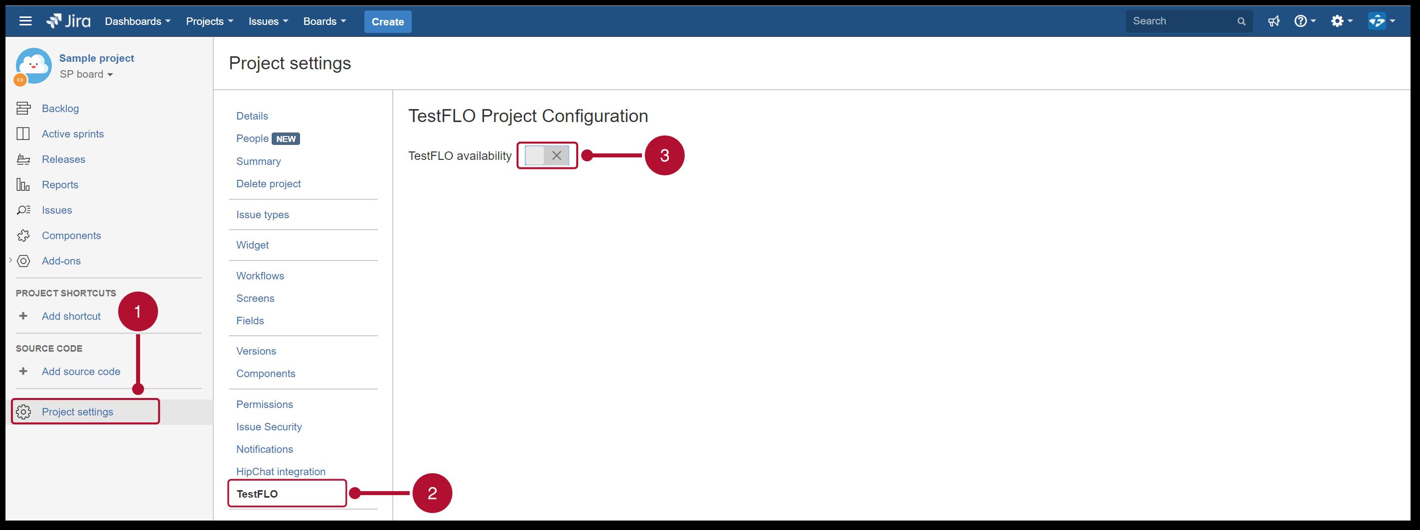 TestFLO Cloud: Slider to enable app