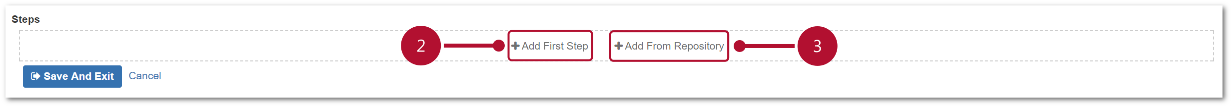 TestFLO Cloud: Buttons for adding Steps