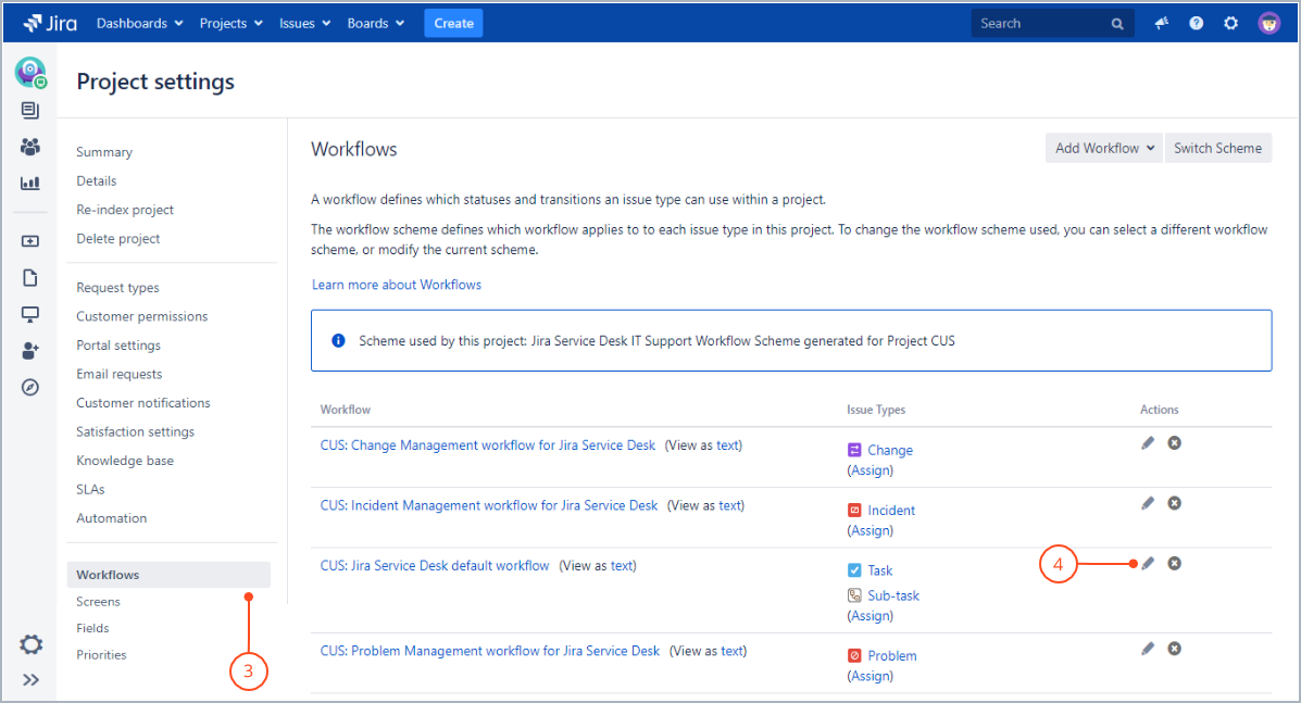 The Workflows view with Actions for Jira Service Management