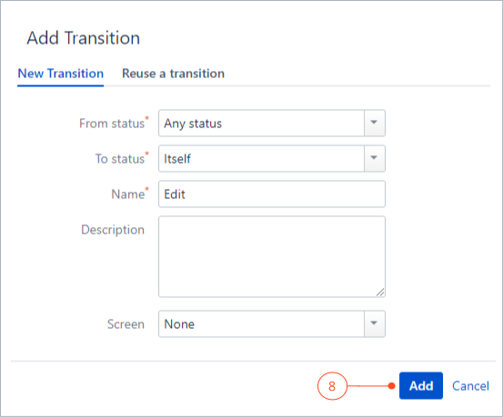 Configuring the transition with Actions for Jira Service Management