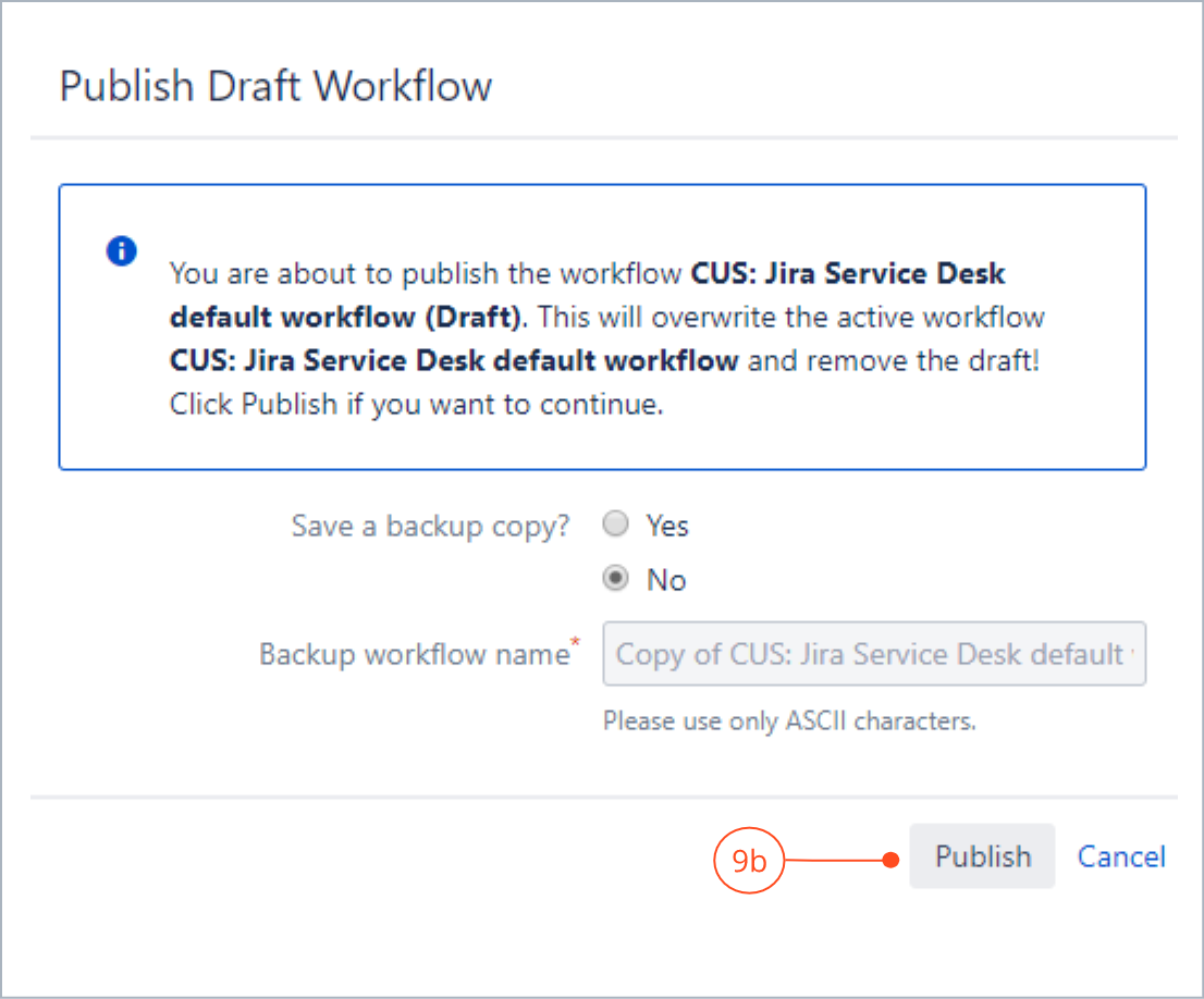 Publishing the added transition configuration with Actions for Jira Service Management