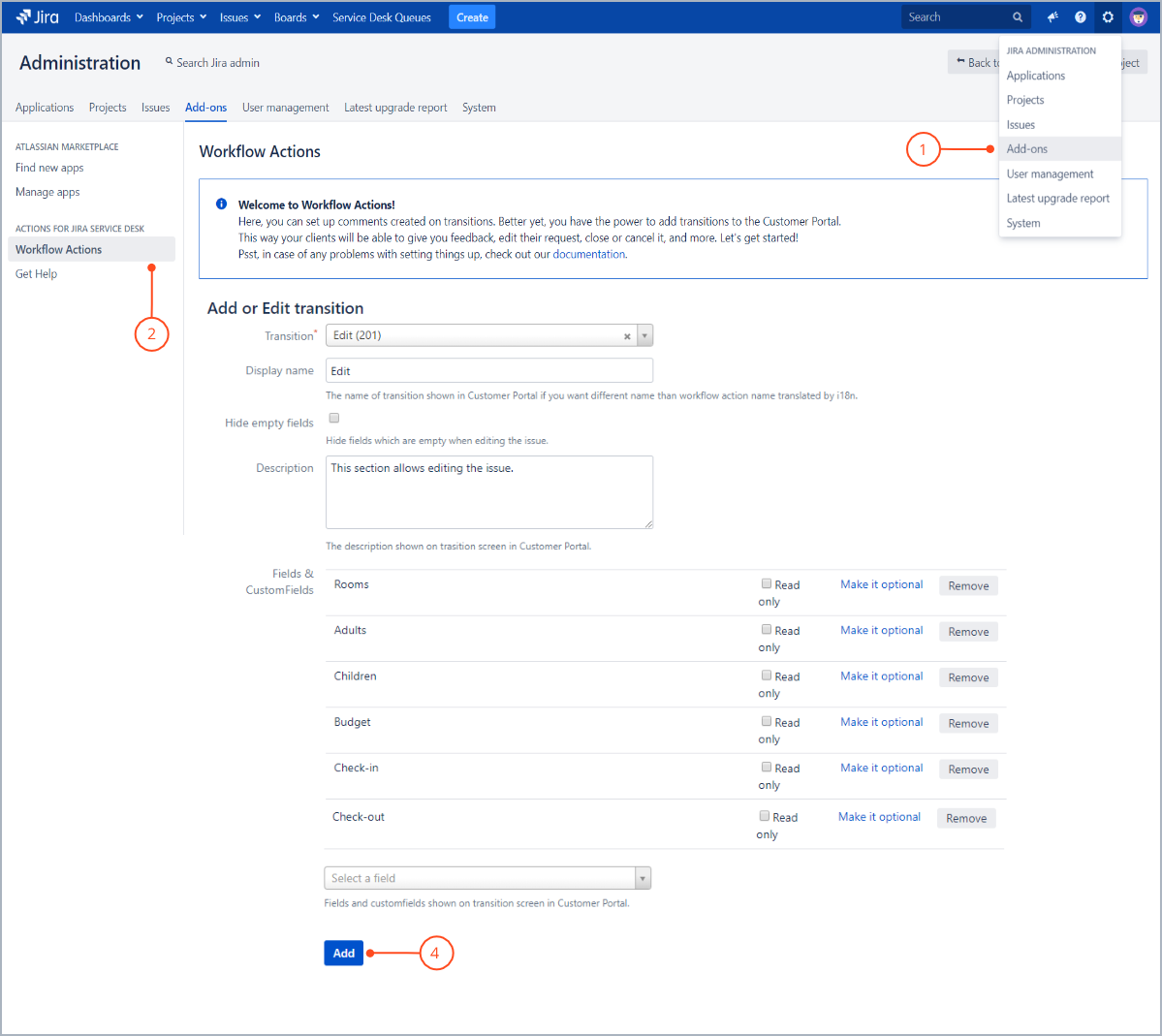 Setting up transition configuration with Actions for Jira Service Management