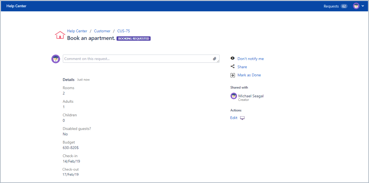 Added Edit action to the request detail view with Actions for Jira Service Management