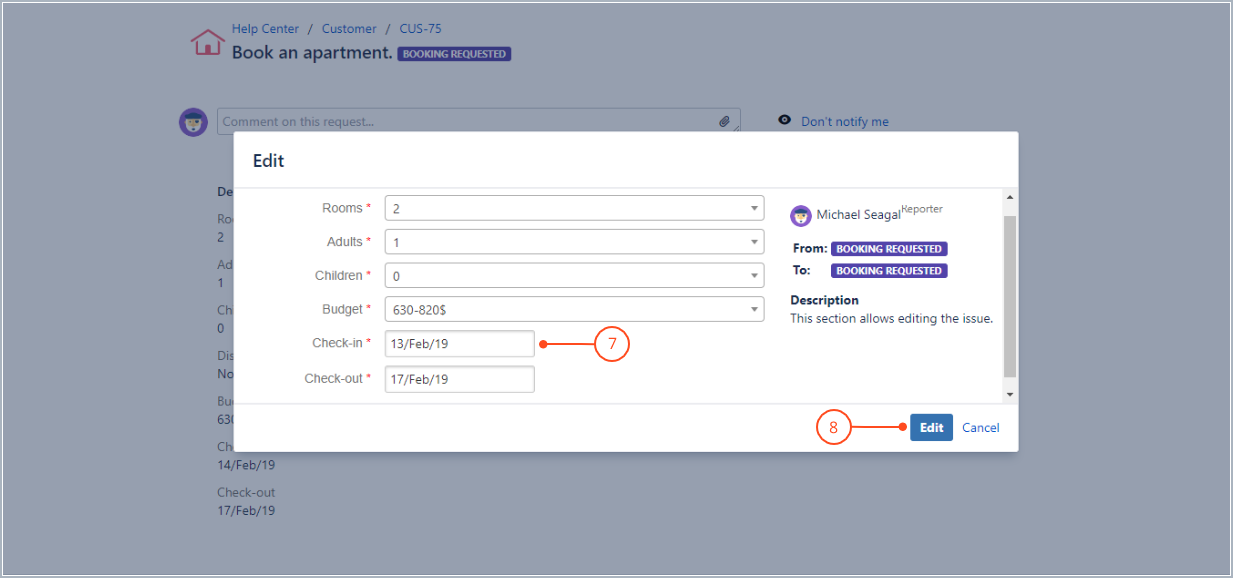 Editing the request with Actions for Jira Service Management