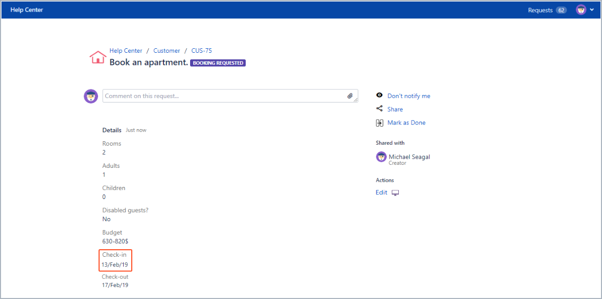 Now you can see editing information in the request detail view with Actions for Jira Service Management