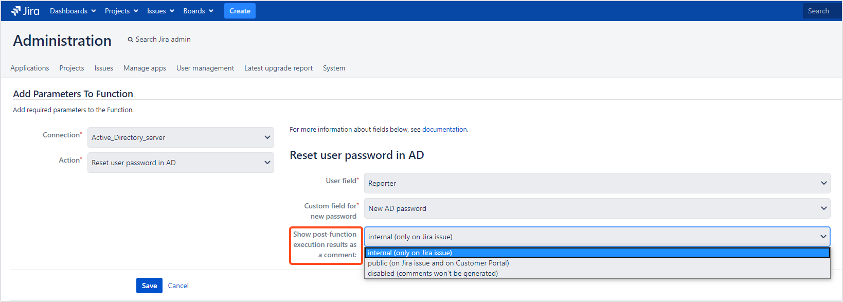 Active Directory Attributes Sync for Jira - Update Data: Adding Comments
