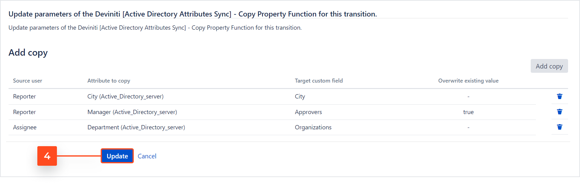 Active Directory Attributes Sync for Jira - Copy Property: Update Post Function