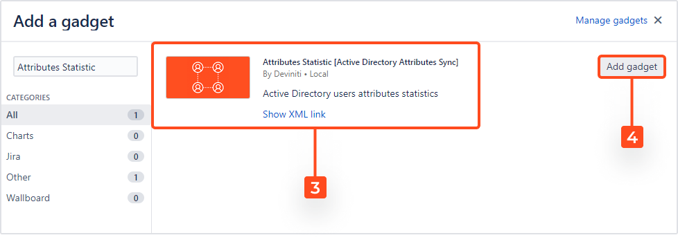 Active Directory Attributes Sync for Jira - Attribute Statistics: Add Gadget to Dashboard