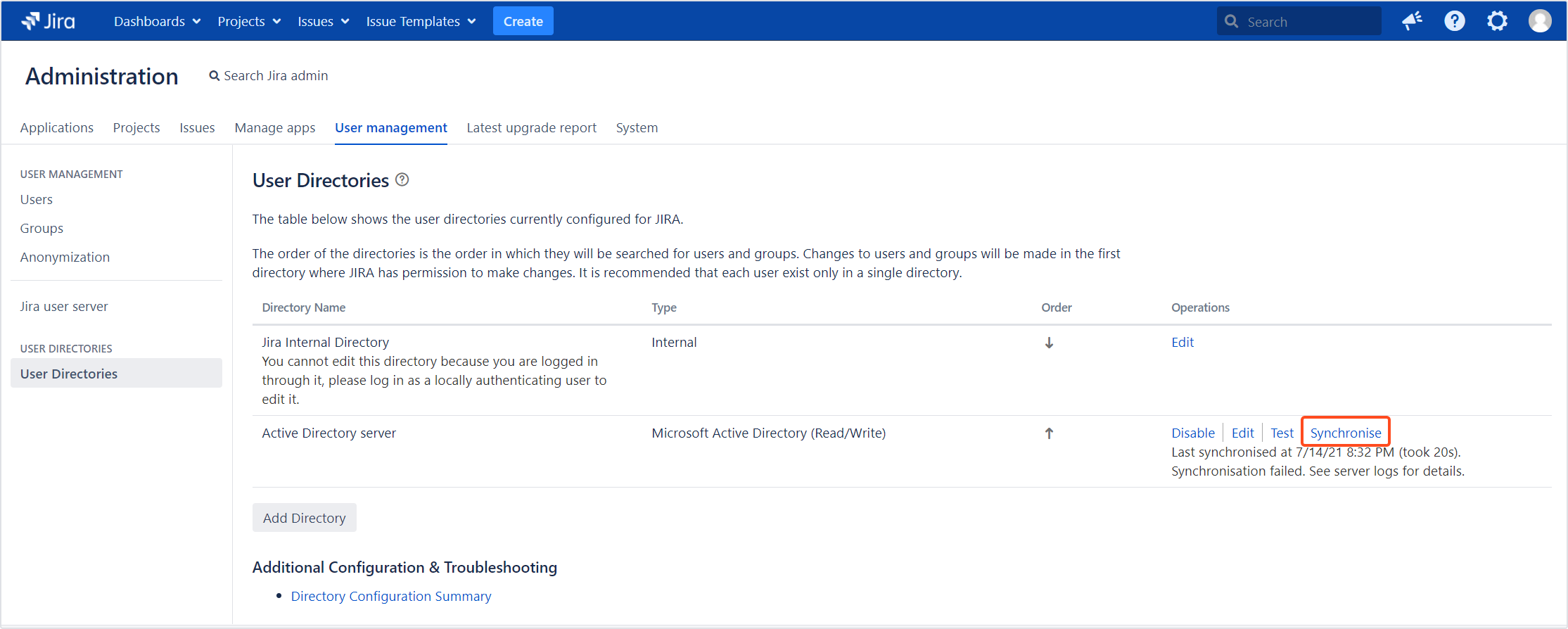 Active Directory Attributes Sync for Jira - Update Data: Synchronizing app