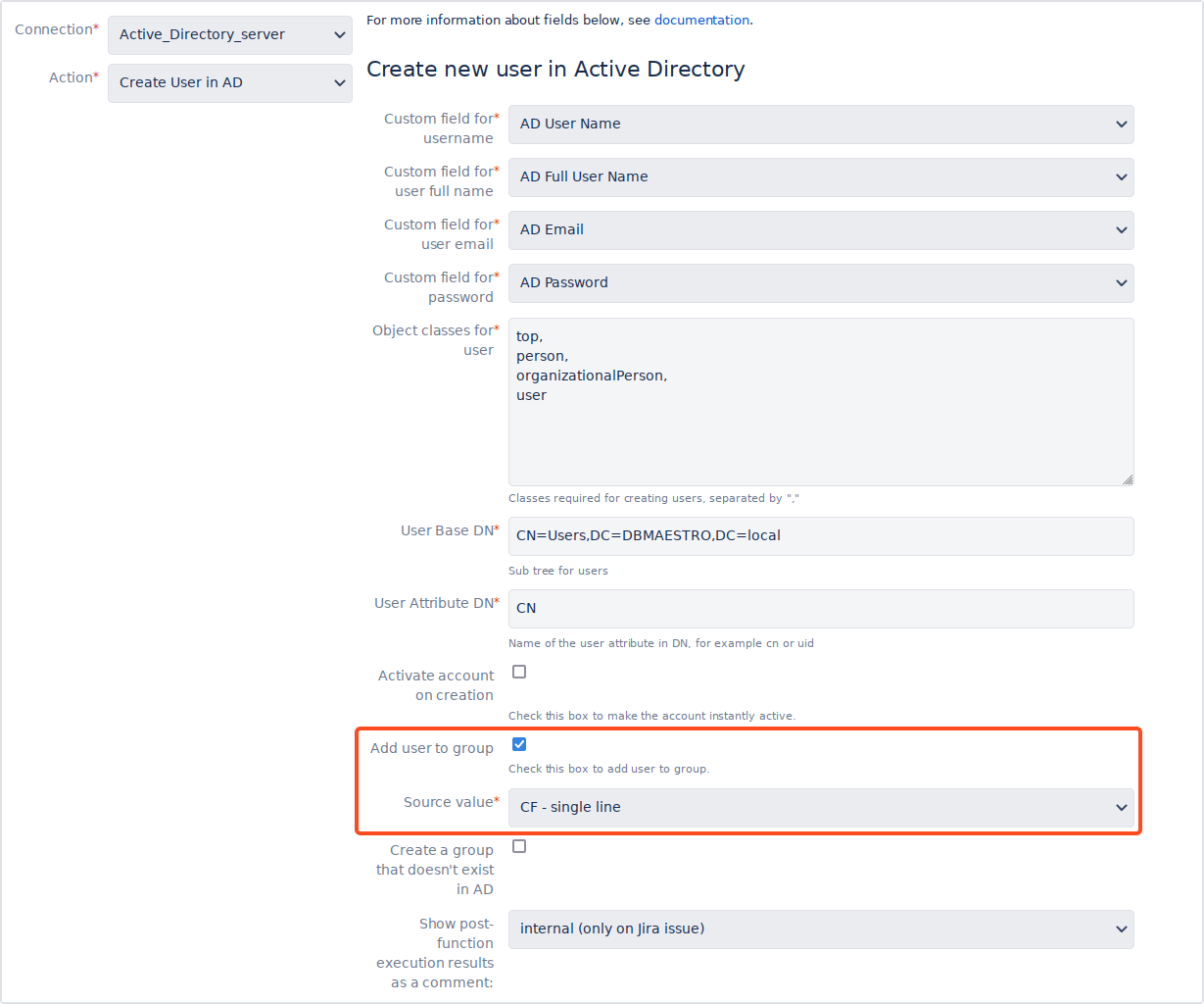 Active Directory Attributes Sync for Jira - Update Data: Creating users and adding them to AD groups simultaneously